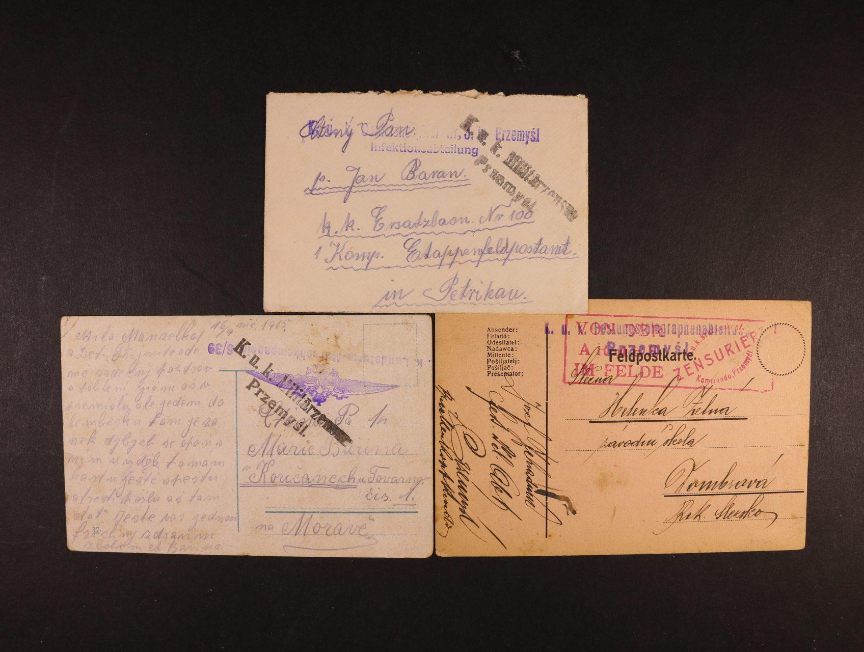 sestava 3 ks celistvostí z let 1915 - 17 s různými útvar. raz. z Přemyšle