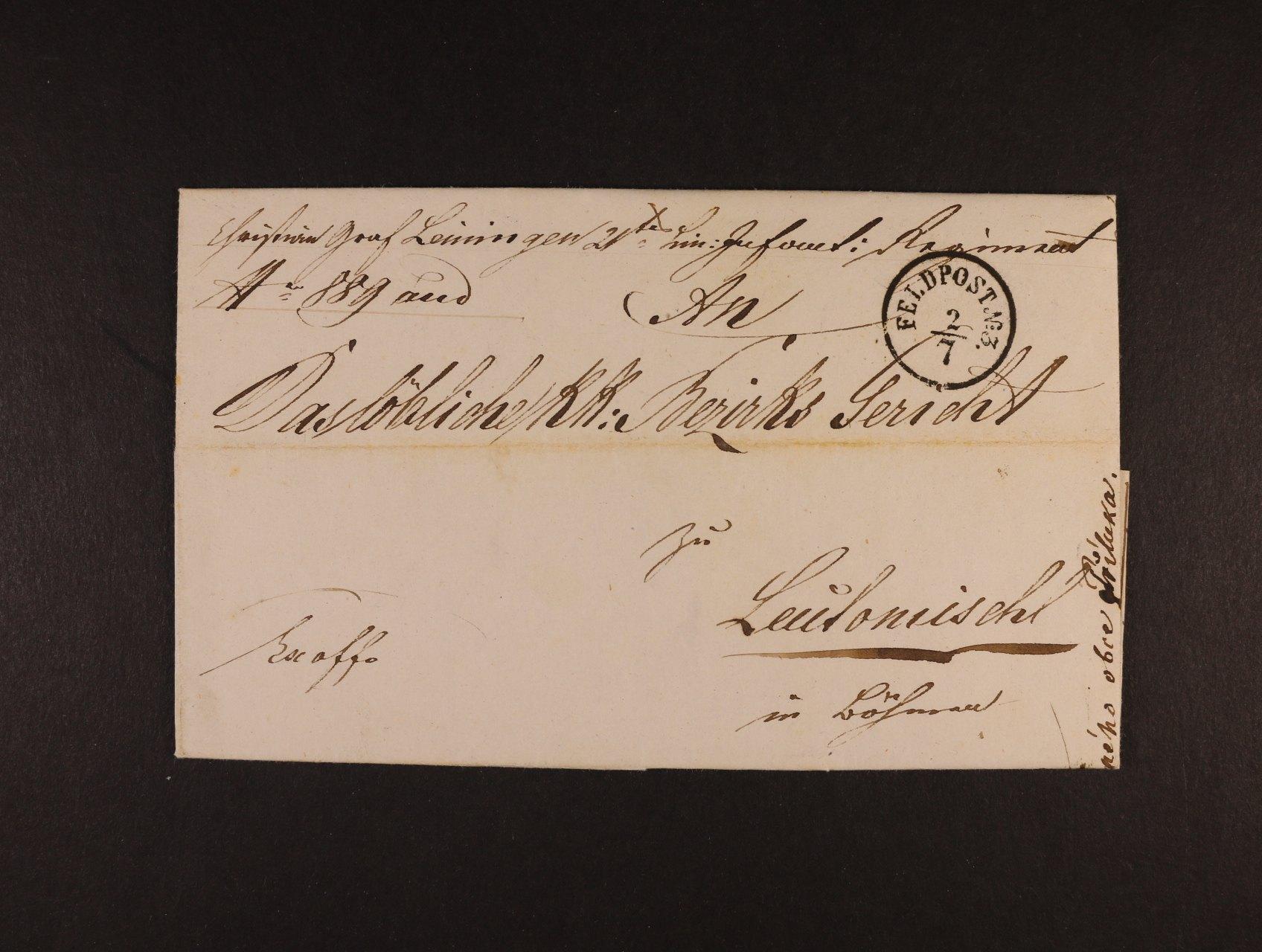 skl. služ. dopis do Litomxšle z Ancony 28.6.1852 s jednokruh. černým raz. FELDPOST No. 3, průch. a přích. raz.,