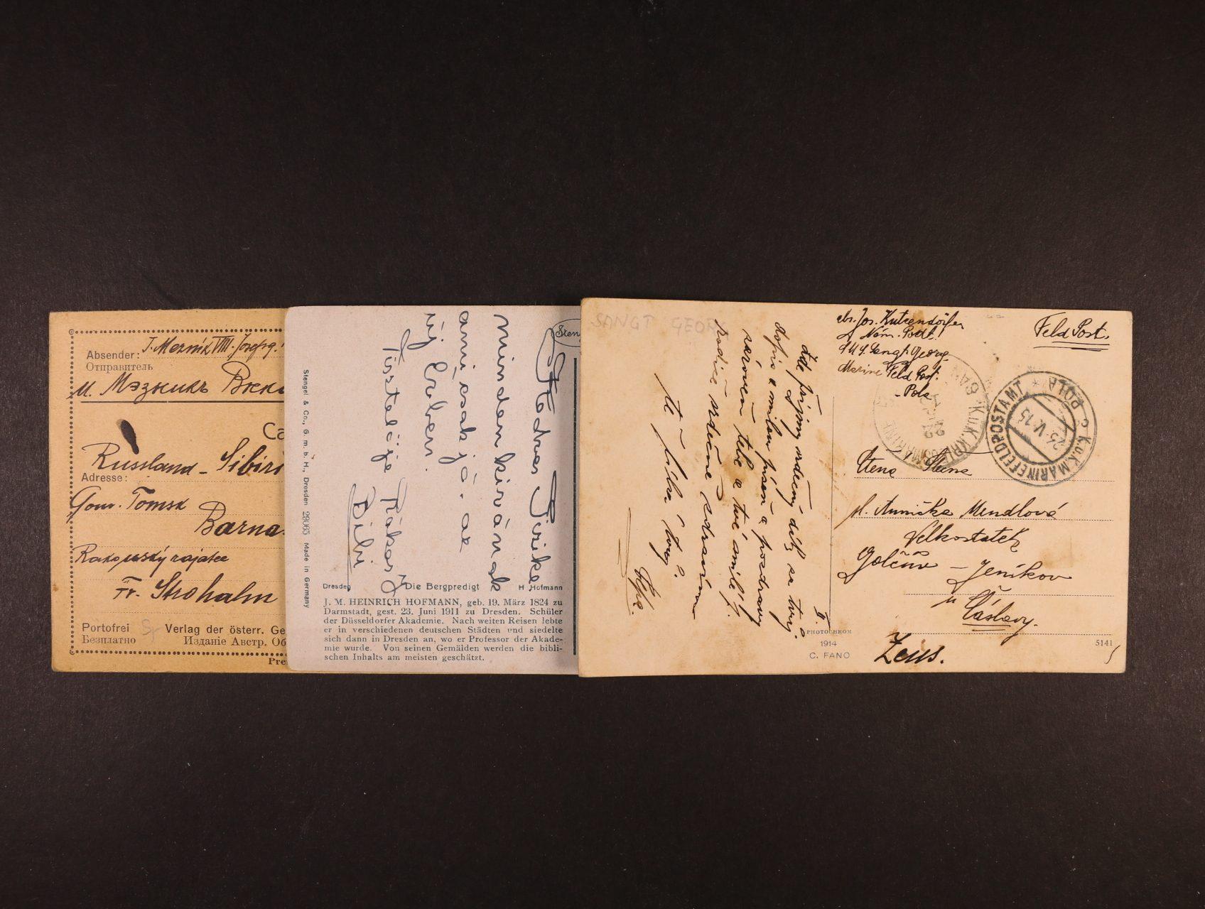 sestava 6 ks celistvostí přepr. FP v letech 1915 - 16, mj. lodní pošta s raz. S.M.S. SANT GEORG