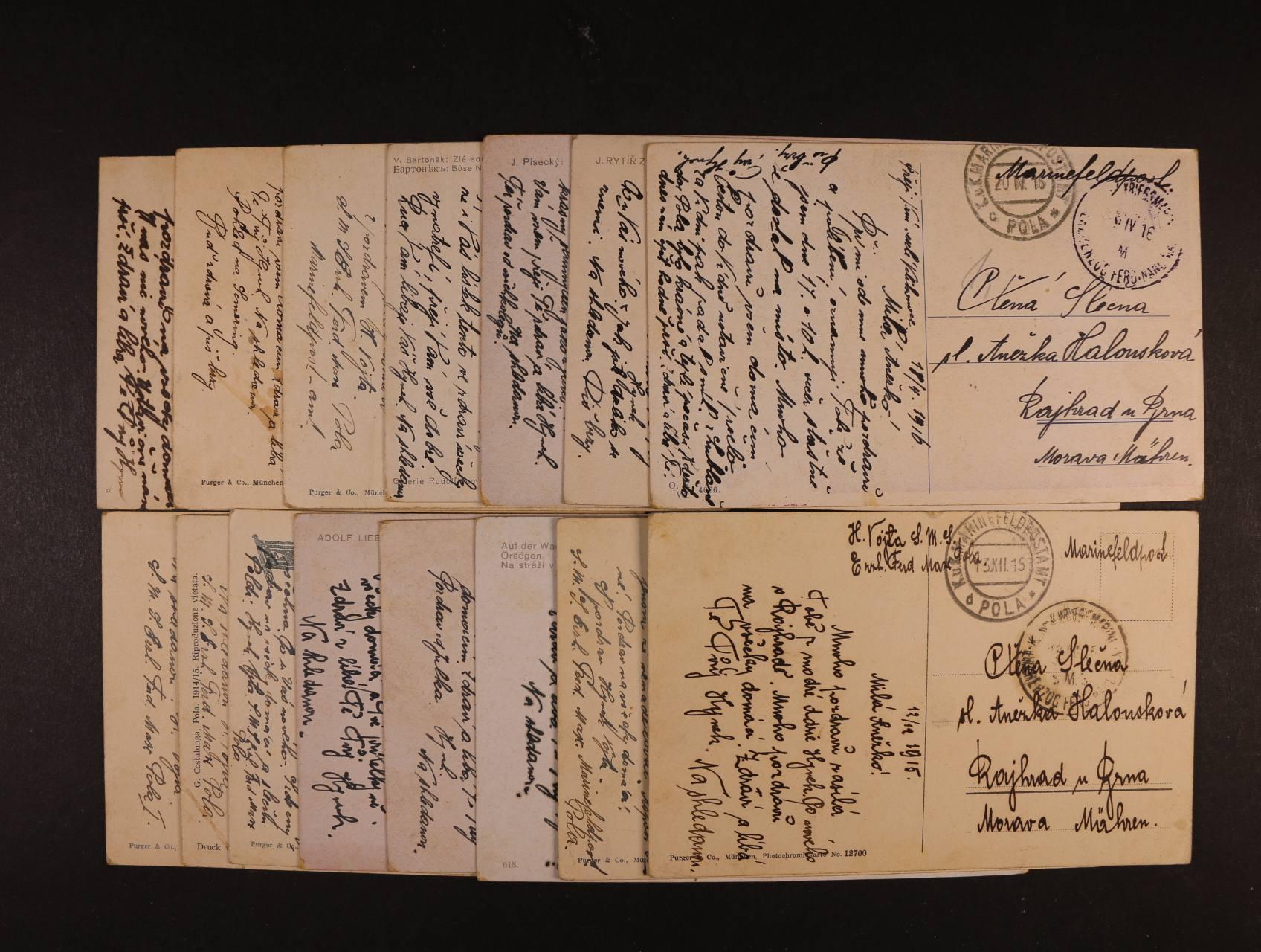 sestava 16 ks celistvostí z lodi Erzhrzog Ferdinand Max z let 1914 - 16, všechny s lodním raz., vše adresované na jednu adresu do Rajhradu u Brna, zajímavé