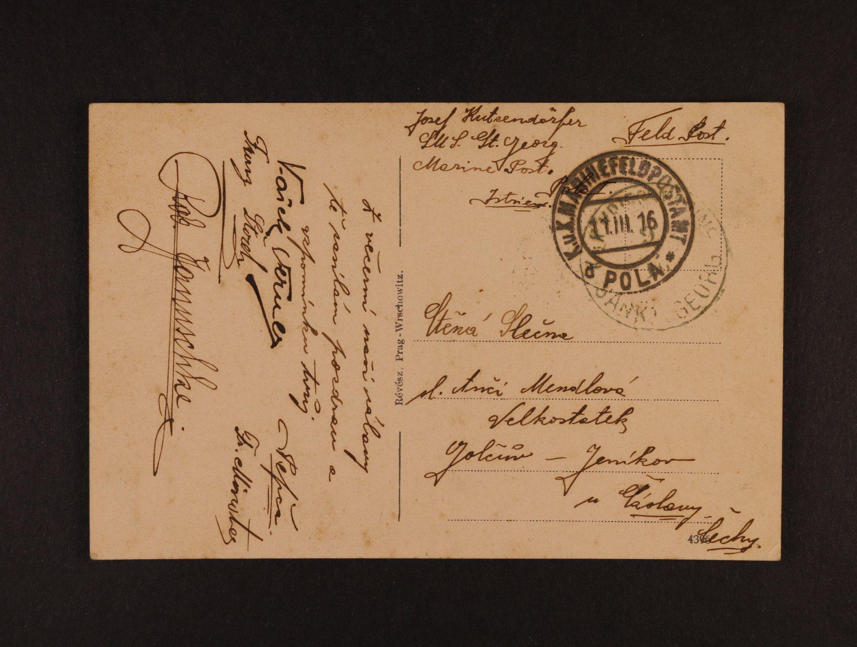 bar. pohlednice do Čech s pod. raz. K.u.K. MFPA POLA 11.3.16 + lodní raz. K.u.K. KRIEGSMARINE SANKT GEORG