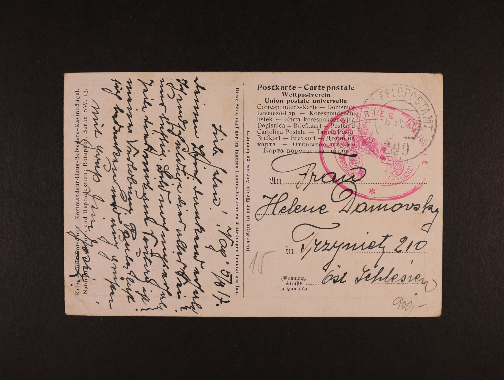 celistvost do Slezska s pod. K.u.K. FPA č. 299 6.8.1917 + oválné červené útvar. raz. K.u.K. KRIEGSMARINE