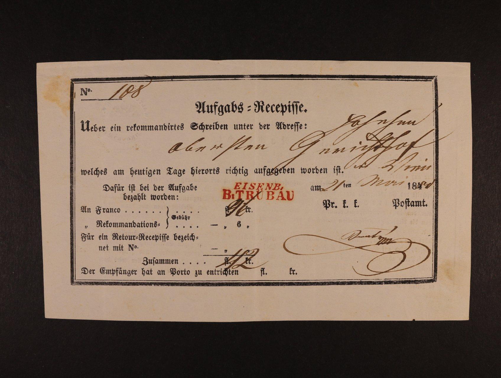pod. lístek Aussgabs=Recepisse z r. 1844 s červeným řádkovým nádr. raz. EISENB B: TRÜBAU, lux. kvalita, zajímavé
