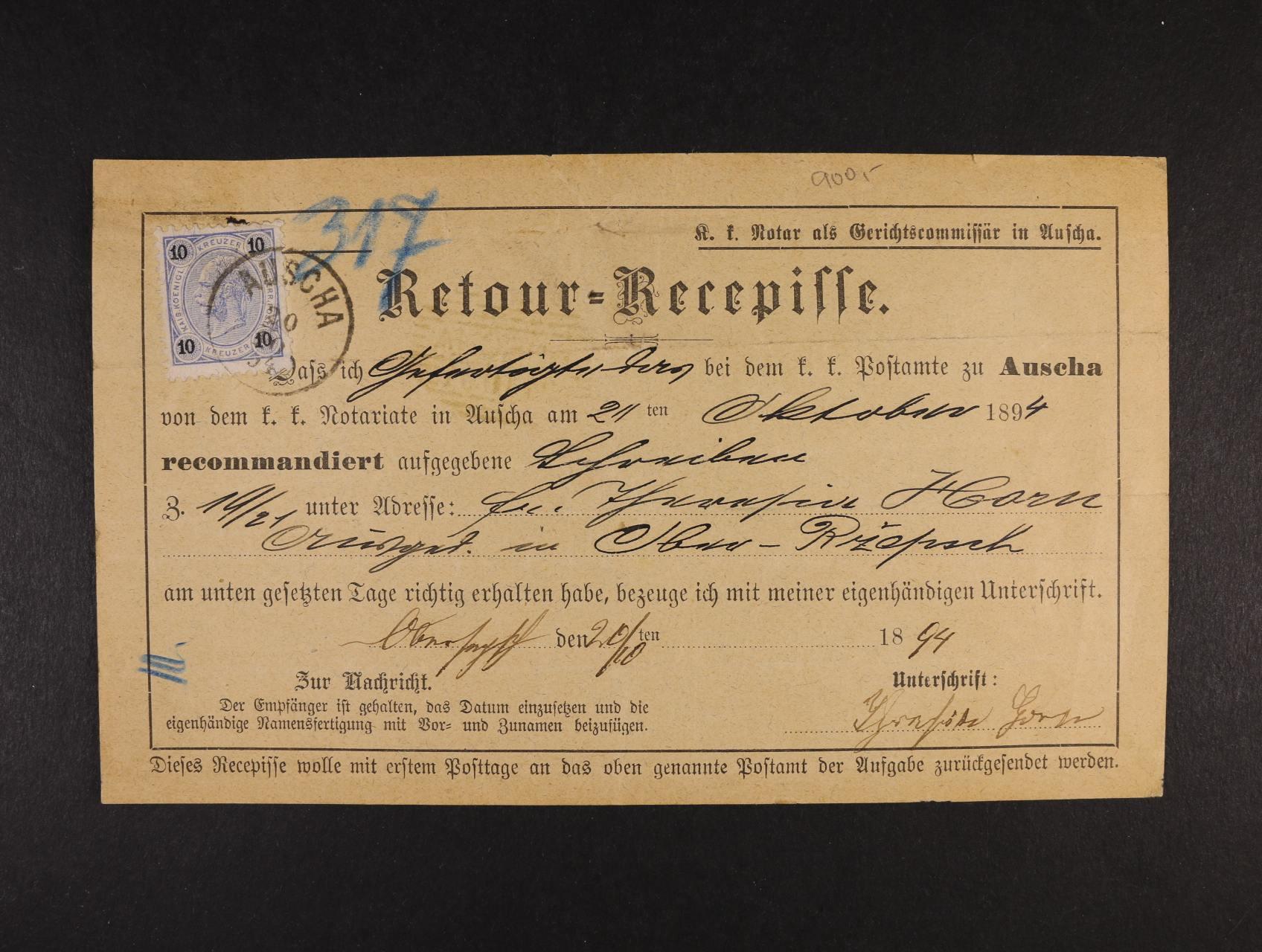 tiskopis Retour=Recepisse z r. 1894 frank. zn. 10kr F.J., pod. raz. AUSCHA 20.10.1894, dobrá kvalita