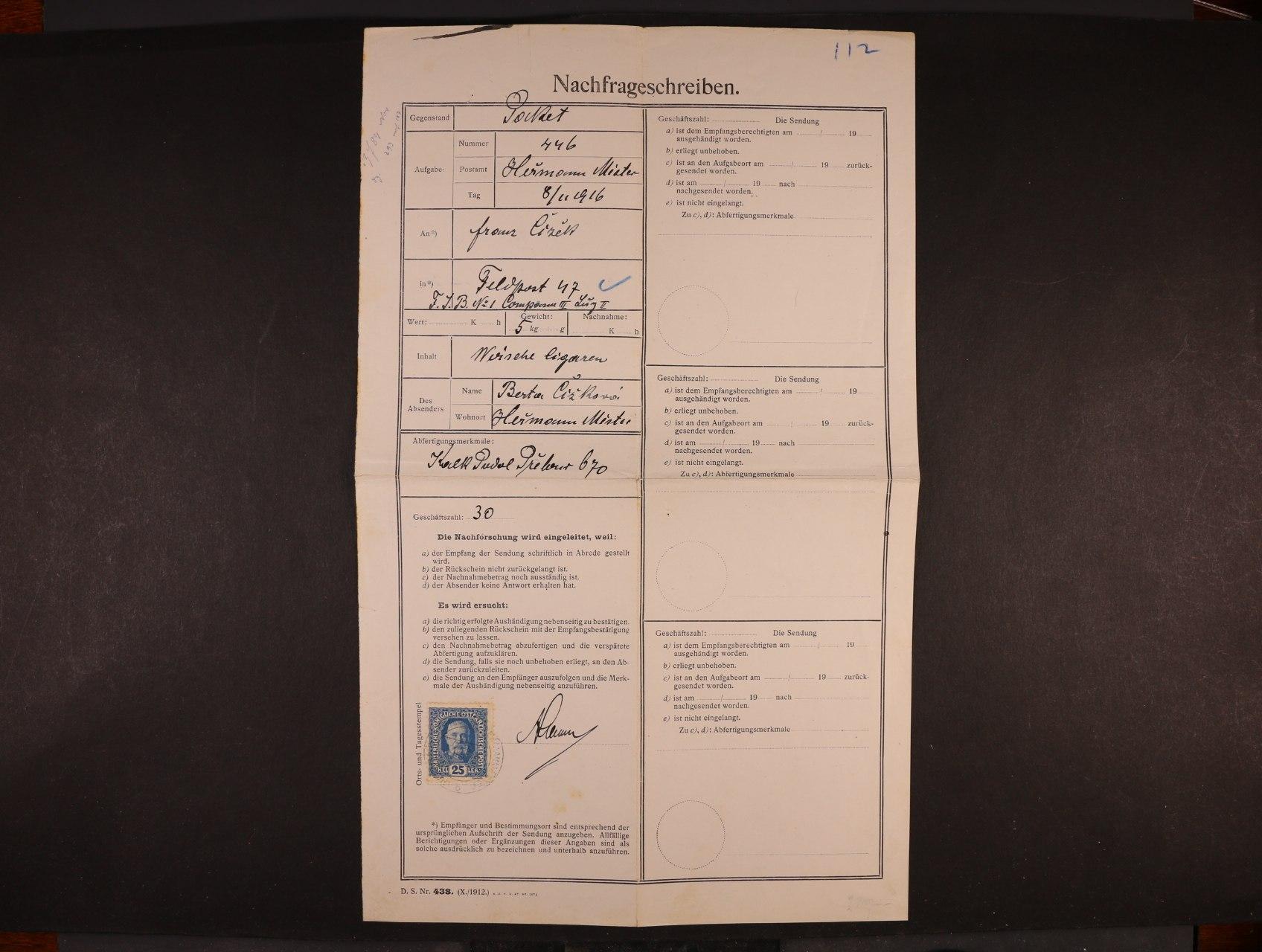 kompl. formulář Nachfrageschreiben frank. zn. Mi. č. 192 s denním raz. HEŘMANŮV MĚSTEC 1916, zajímavé