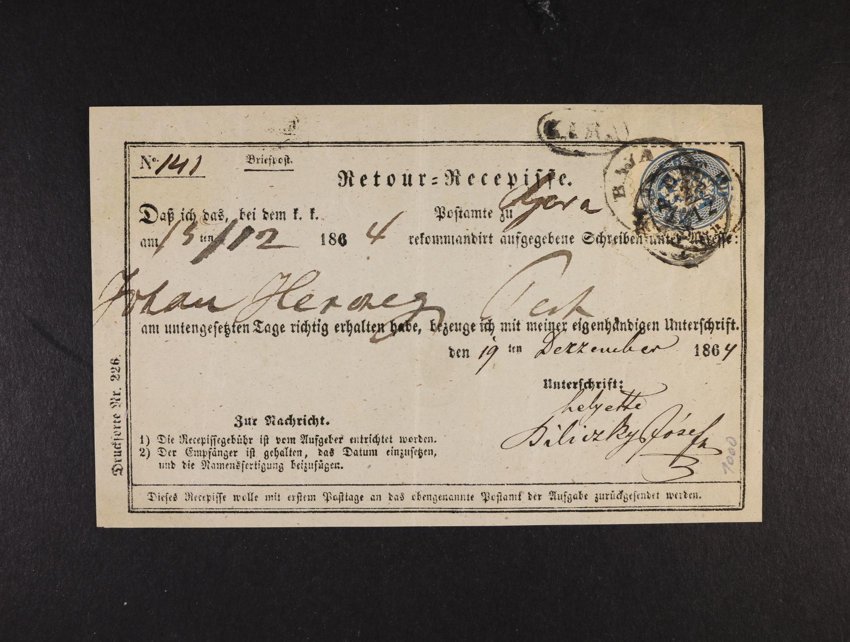 Retour=Recepisse frank. zn. Fe. č. 33 se třemi razítky a datací v textu 1864, zajímavé, 230 EUR