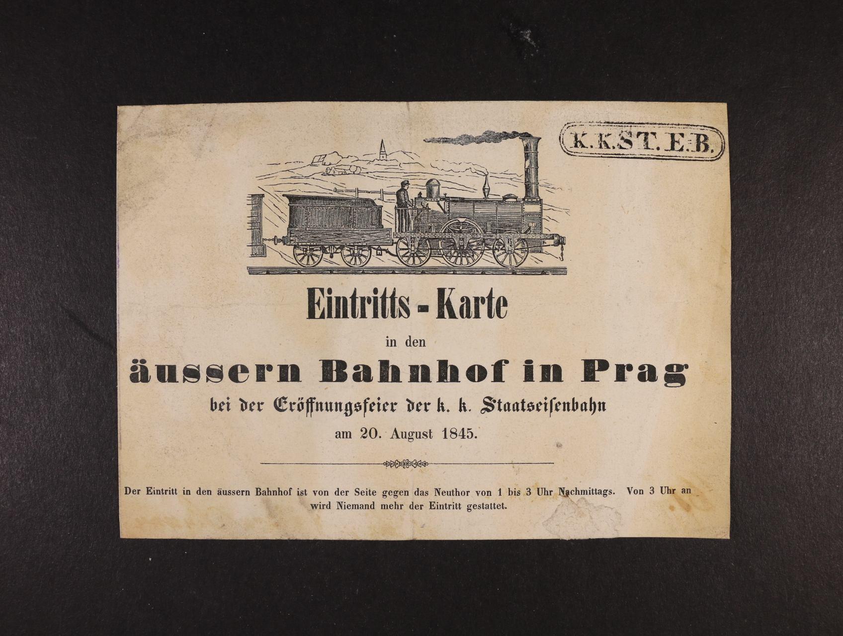 vstupenka na ceremoniál otevření státní dráhy v Praze 20.srpna 1845, zajímavé, vzácné