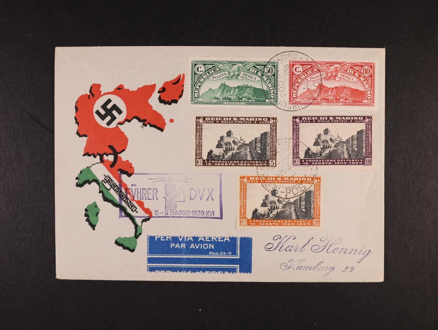 let. dopis do Hamburku frank. zn. Mi. č. 166 - 6, 208 - 10, pod. raz. SAN MARINO 9.3.38 + fialový rámeč. kašet FÜHRER DVX  3- 9 MAGGIO 1939 - XVI, dobrý stav