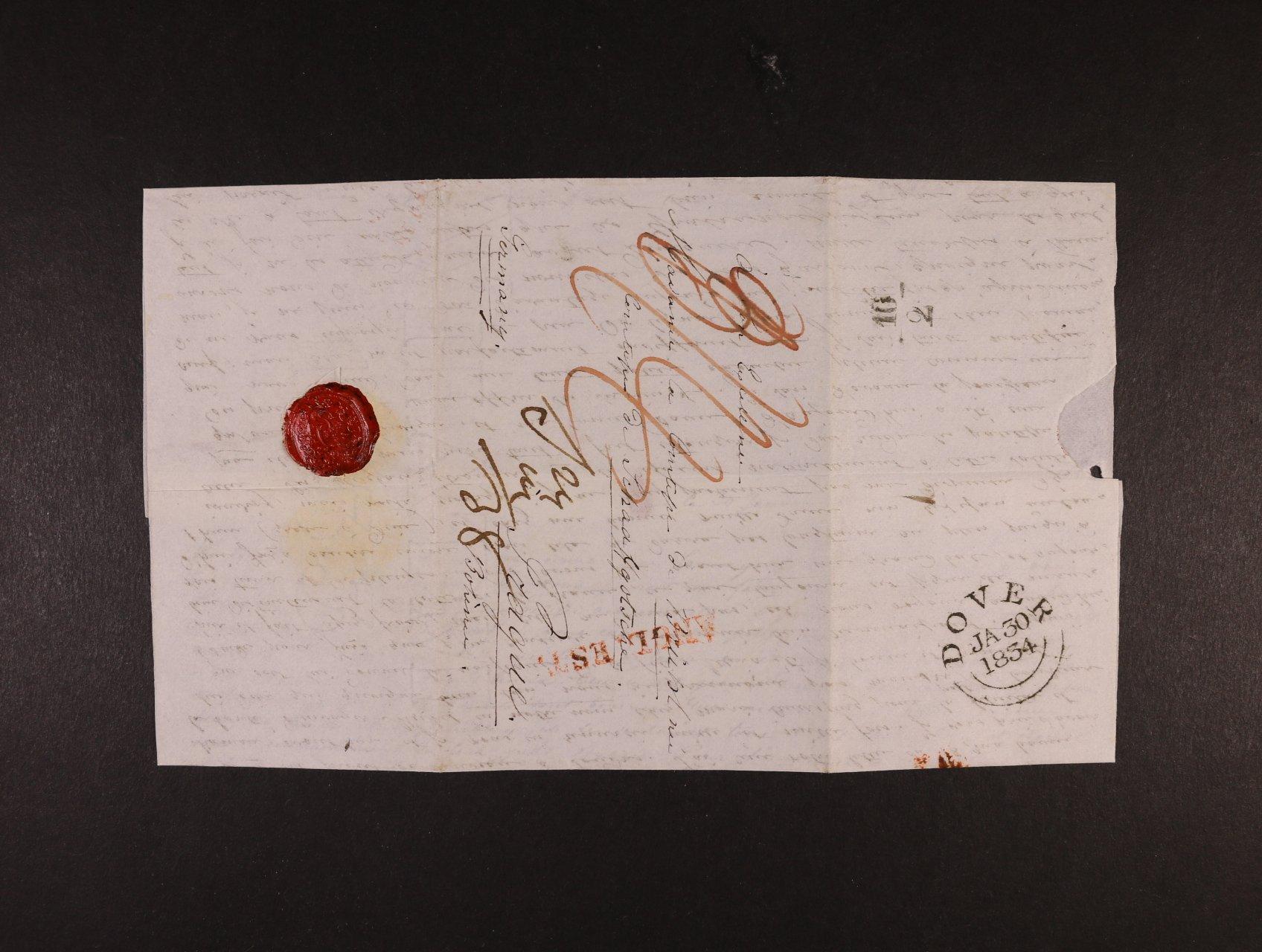 skl. dopis do Čech z r. 1834 s řádkovým červeným raz. ANGL. EST., průch. raz. DOVER JA. 30.1834, neporušená pečeť, dobrá kvalita, zajímavé