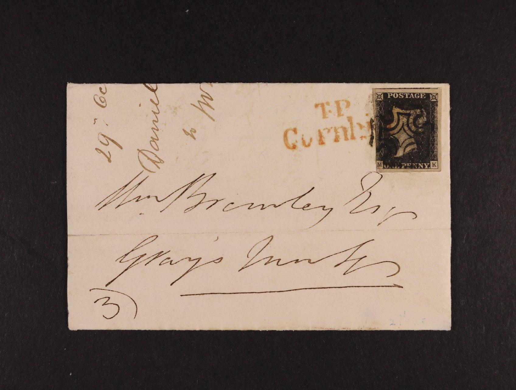 dopis z r. 1840 frank. zn. SG.1, PENNY BLACK sytě černá TD 1b, písmena M-K; zaslán v rámci Londýna 29.10.1840, s červeným předznámkovým T.P. (Two Penny) CORNHILL (londýnská pošta u Lombard Street) a tzv.