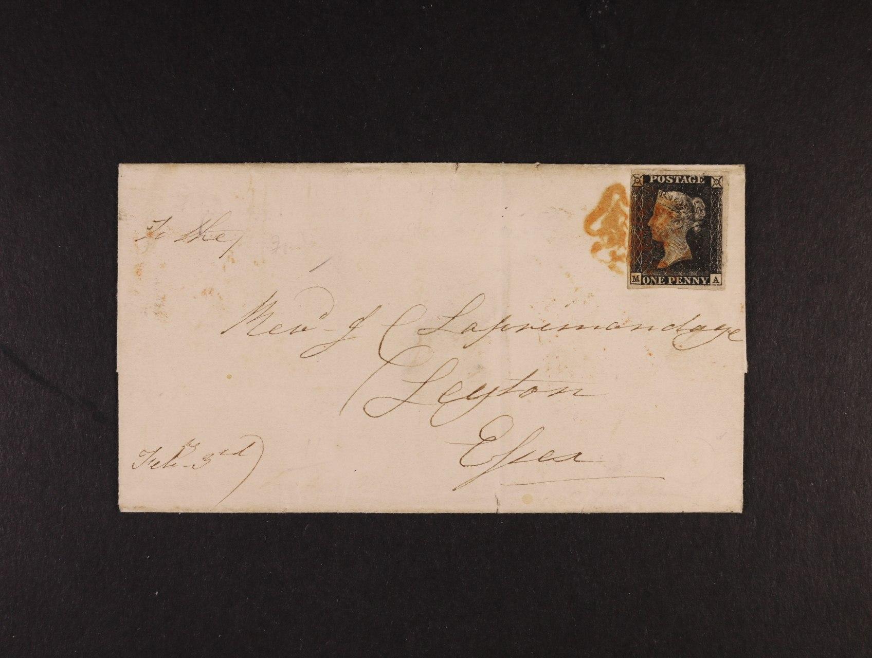 zn. Mi. č. 1 z r. 1840 One Penny Black, sytě černá na dopise z MILNTHORPE 3.2. 41, do londýského Leytonu, bezvadný střih, kat. min. 1050 GBP