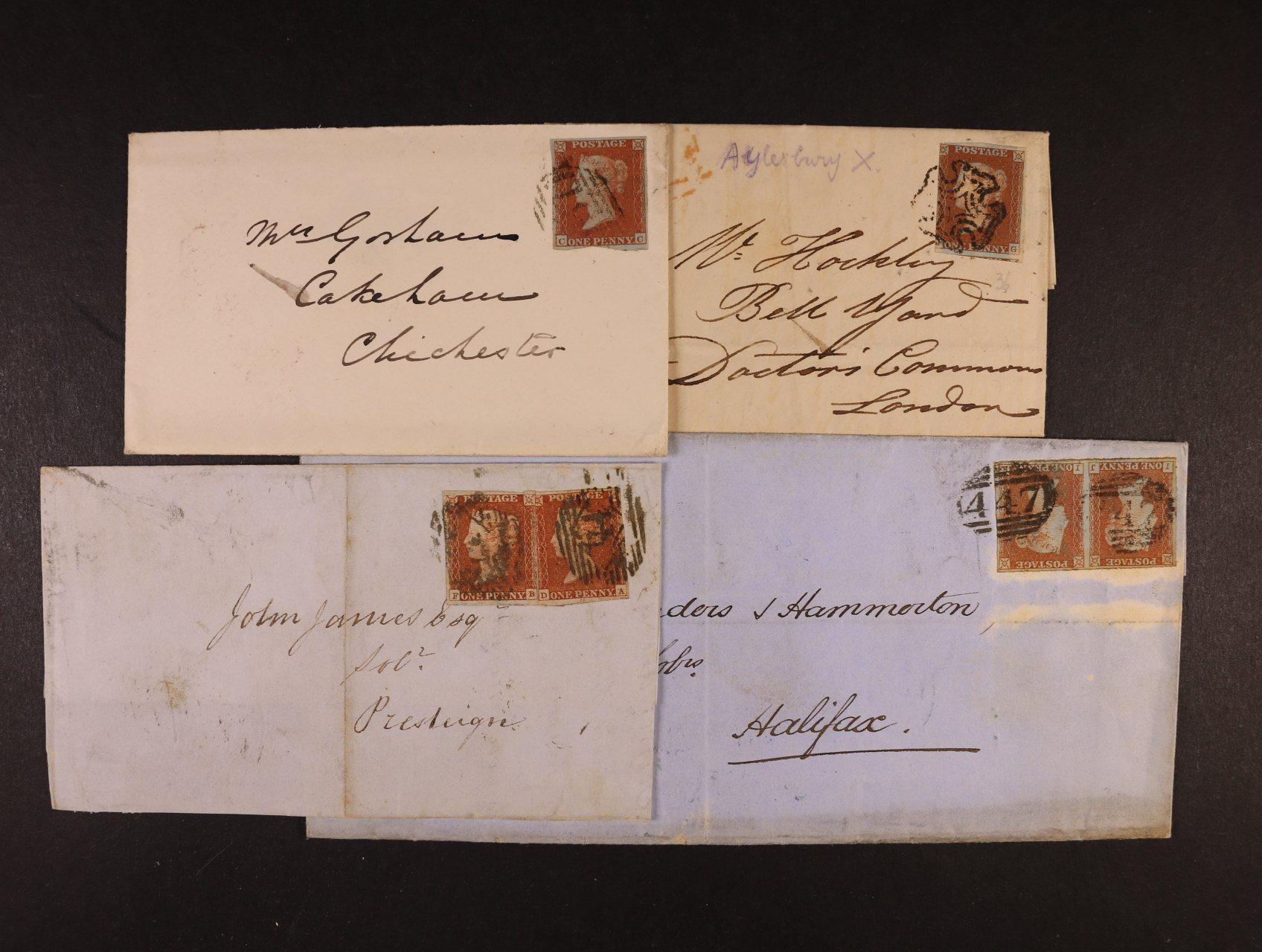 sestava 4 ks skl. dopisů z let 1843 - 1853, dva dopisy frank. jednou zn. Mi. č. 3, jeden dopis frank. dvěma  zn. Mi. č. 3, jeden dopis frank. zn. Mi. 3 ve vodorovné dvoupásce, znehodnoc. čís. razítky, resp. raz. Maltézský kříž, zajímavé, k prohlédnutí
