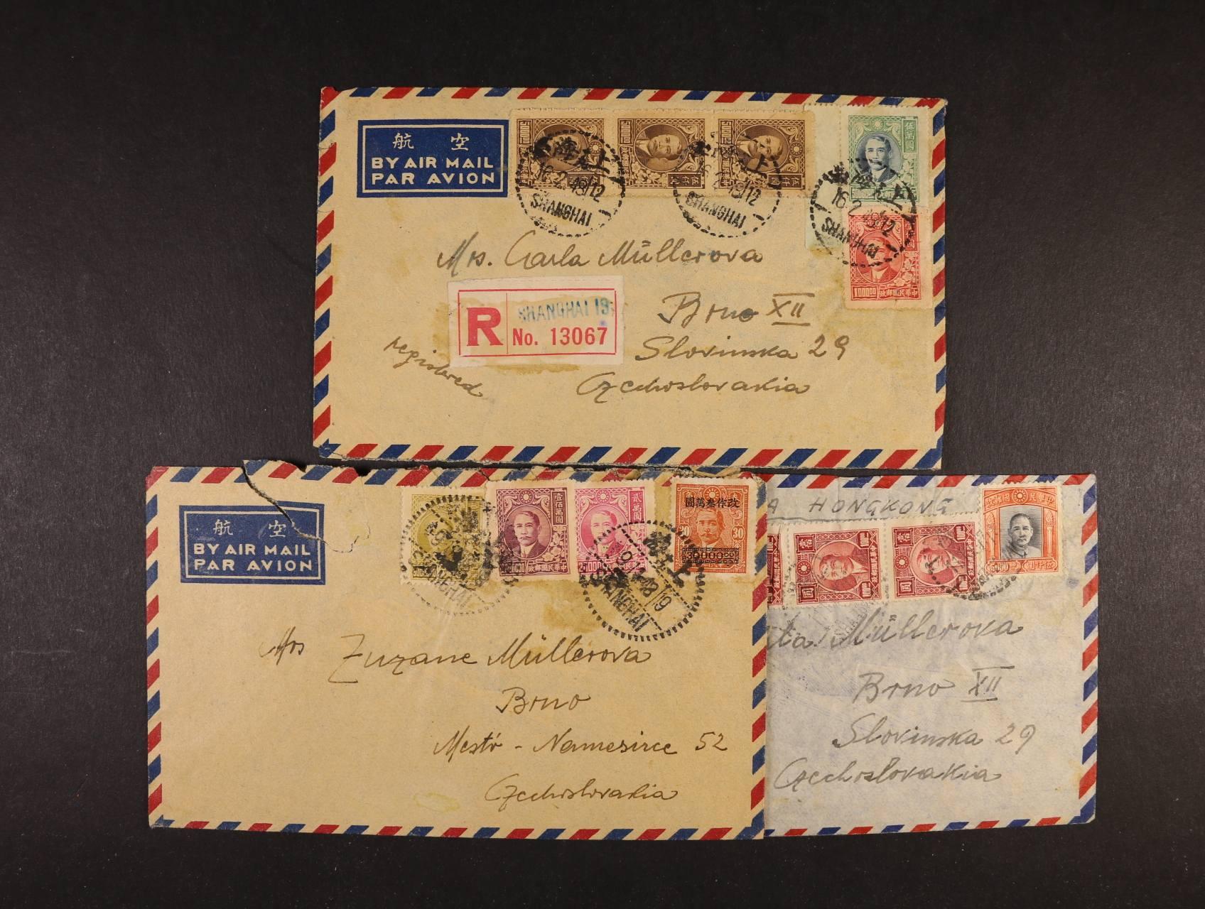 Čína - sestava 3 ks let. R-dopisů do Brna z let 1947 - 48, pestré zajímavé frankatury, pod. raz. SHANGHAI, přích. raz. + dvojjazyčné rámeč. raz. Úředně otevřeno devisovou kontrolou, zajímavé