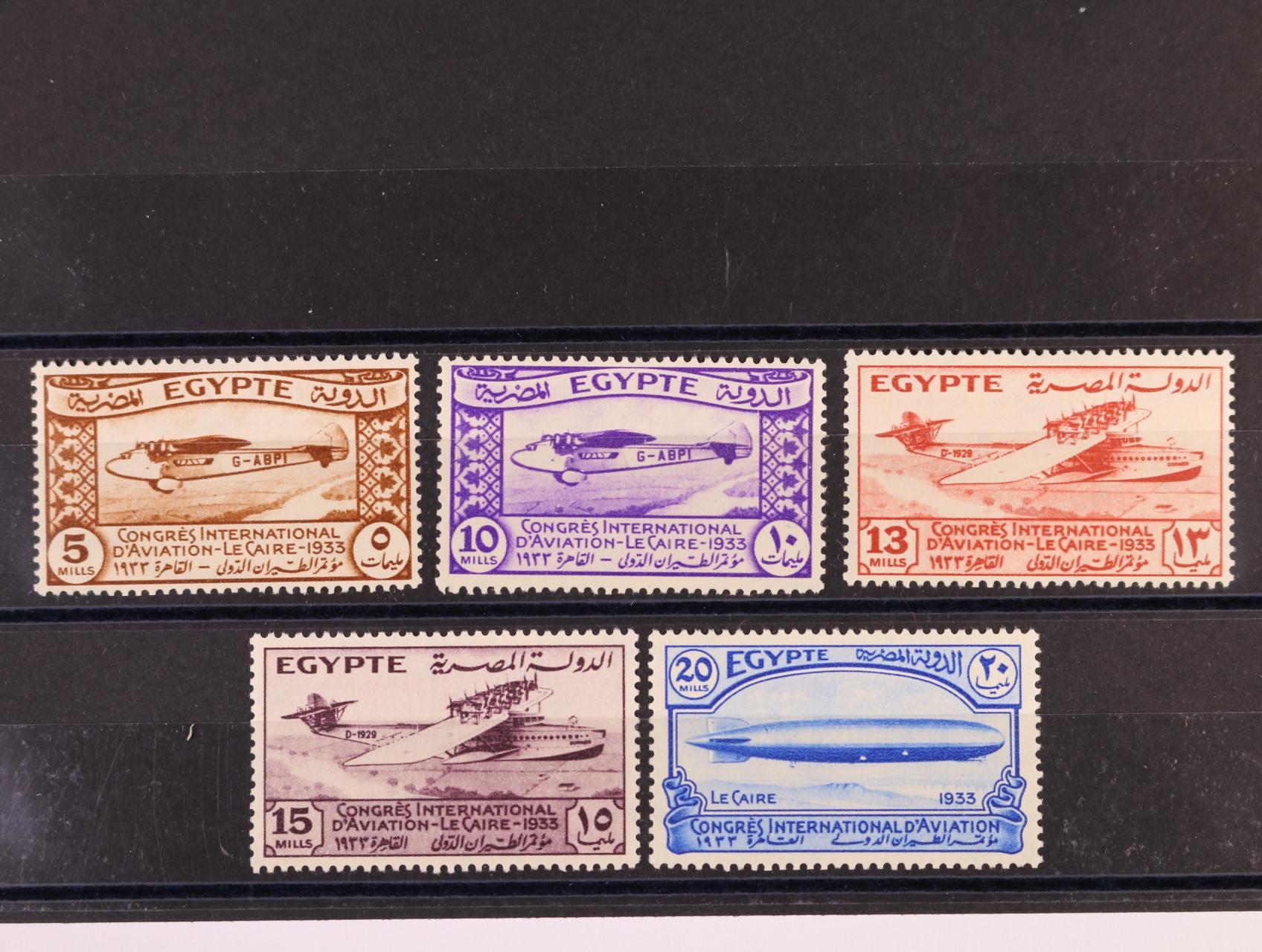 Egypt - zn. Mi. č. 186 - 90 s námětem letadla a vzducholoď