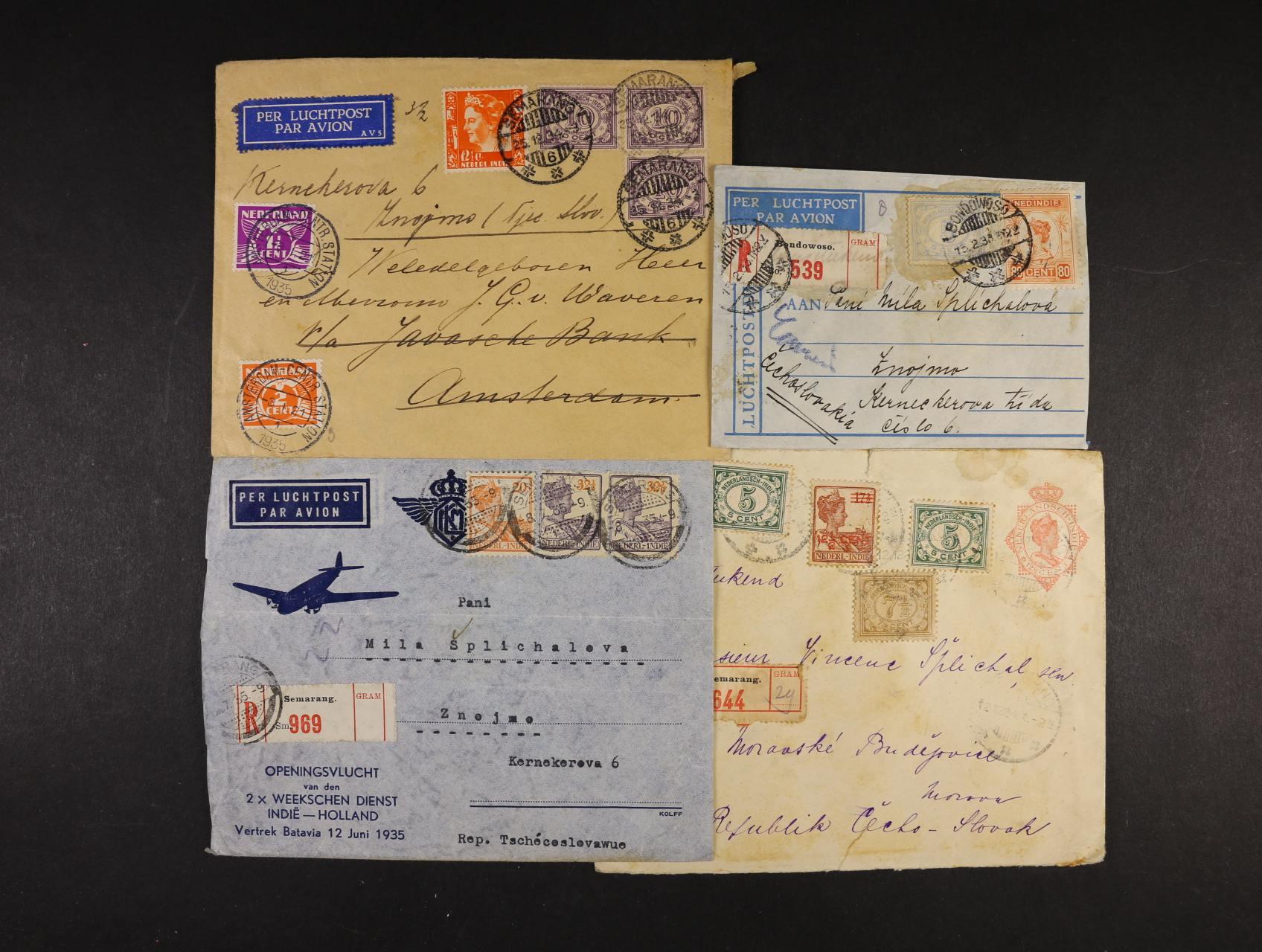 Holandská Indie - sestava 3 ks let. celistvostí do Evropy z let 1884 - 1935, pestré zajímavé frankatury