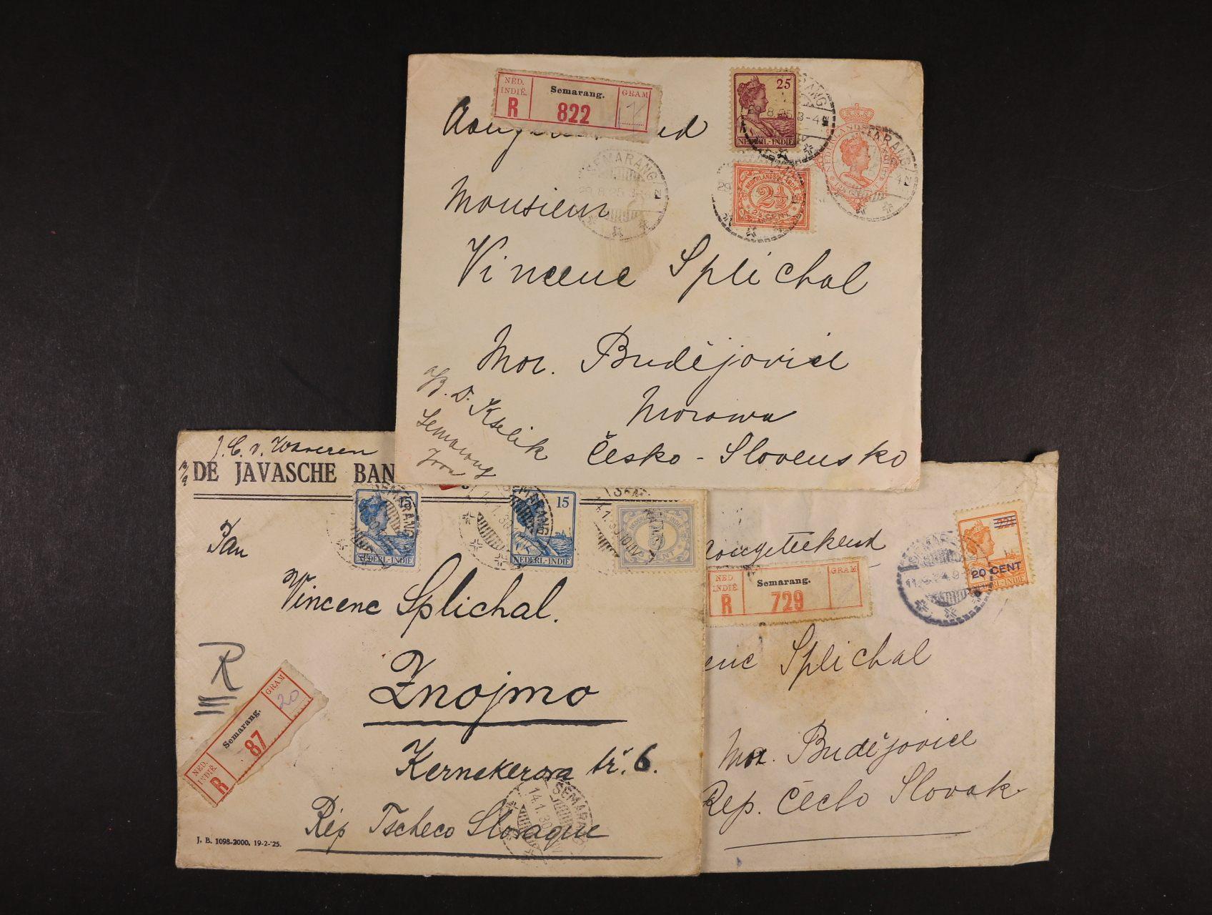 Holandská Indie - sestava 3 ks let. R-celistvostí do Evropy z let 1924 - 30, pestré zajímavé frankatuy