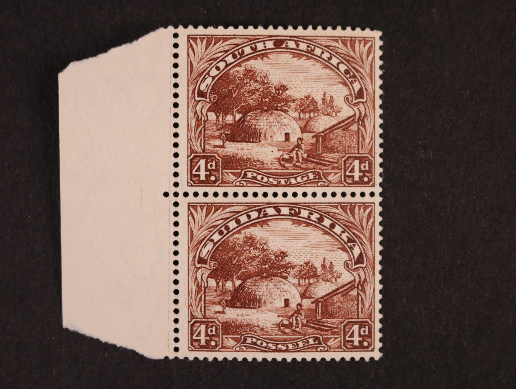 Jižní Afrika - zn. Mi. č. 33 + 34 v soutisku ve svislé dvoupásce s levým okrajem