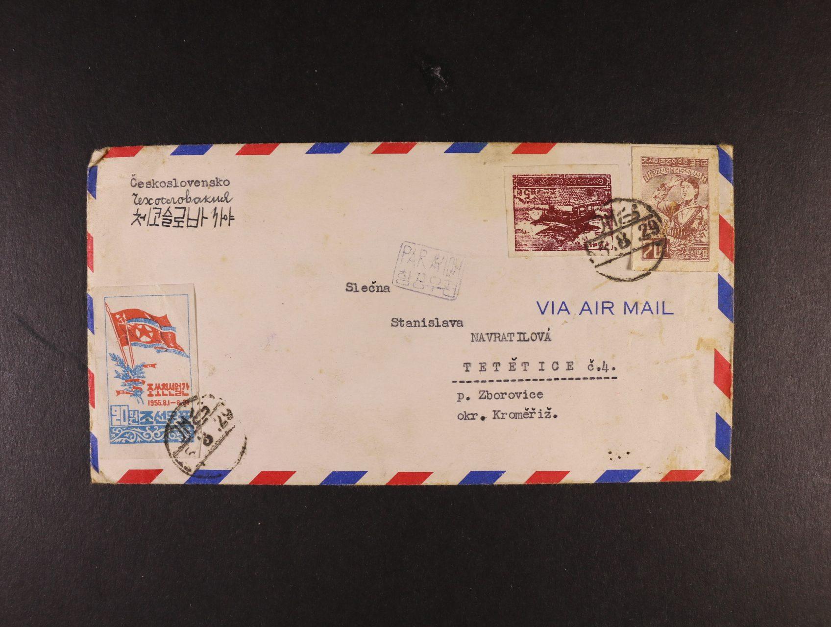Korea - let. dopis do ČSR od příslušníka Čsl. delegace DKNS z Kesonu, pod. raz. 29.8.55