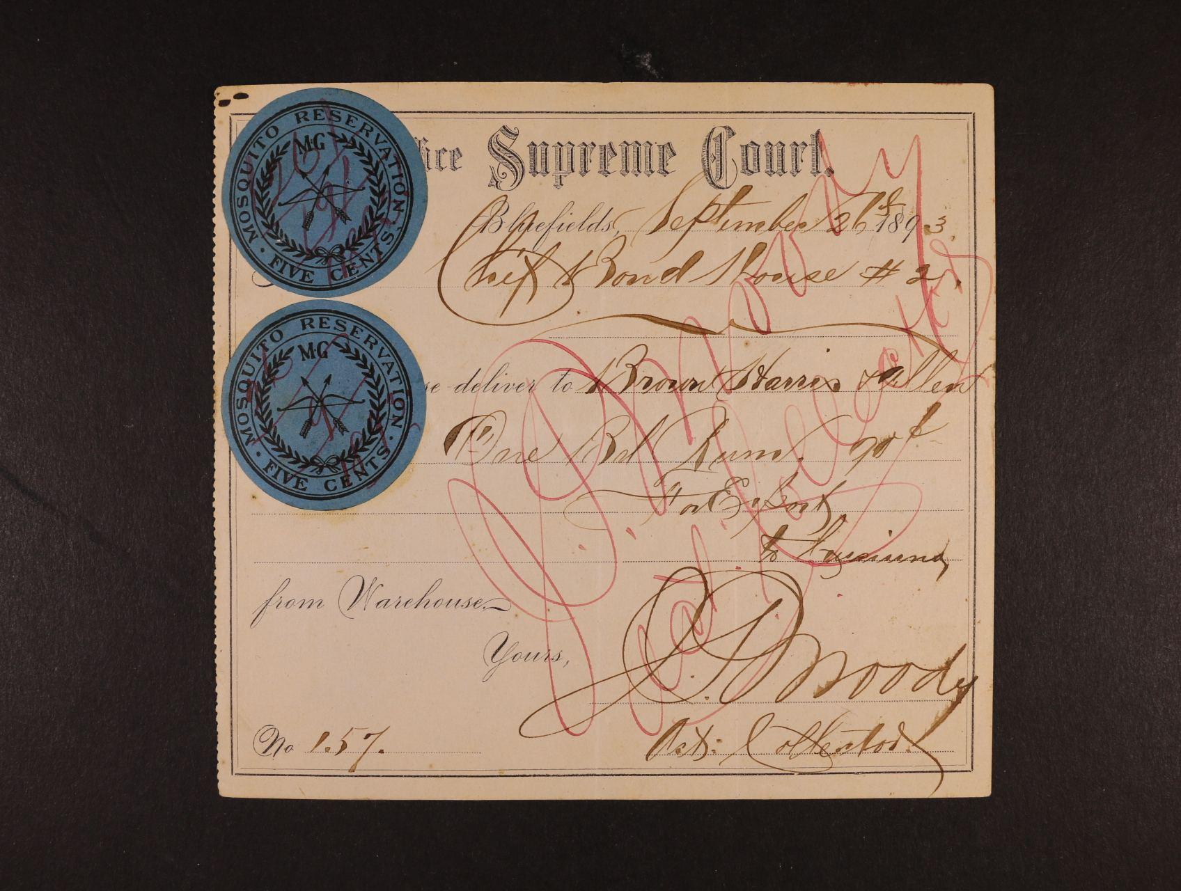 Nicaragua Moskytské pobřeží - doklad o nákupu rumu ze 26. Sept.1893 s vylepenými dvěma 5ti-centovými zn. znehodnoc. přepisem a škrtem pera (podobný doklad v aukci Feldman označený velmi vzácné)