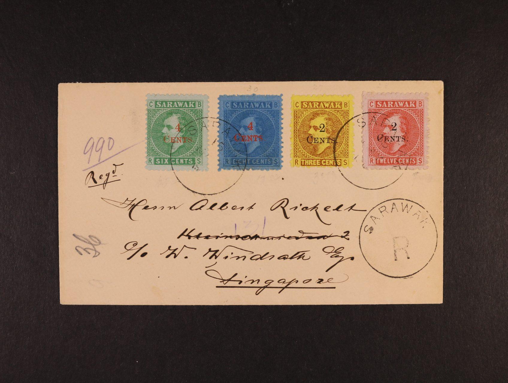 Sarawak - 1900 R-dopis se SG.32-35, Brooke 3C-12C s přetisky 2 CENTS a 4 CENTS, DR SARAWAK 15 MAY, příchozí SINGAPORE MY 17; bezvadná a PŘESNÁ FRANKATURA 12C (4C za 1/2oz dopis + 8C R-poplatek); kat. min. L850, ex. Milo D. Rowell Collection, mimořádná nabídka!