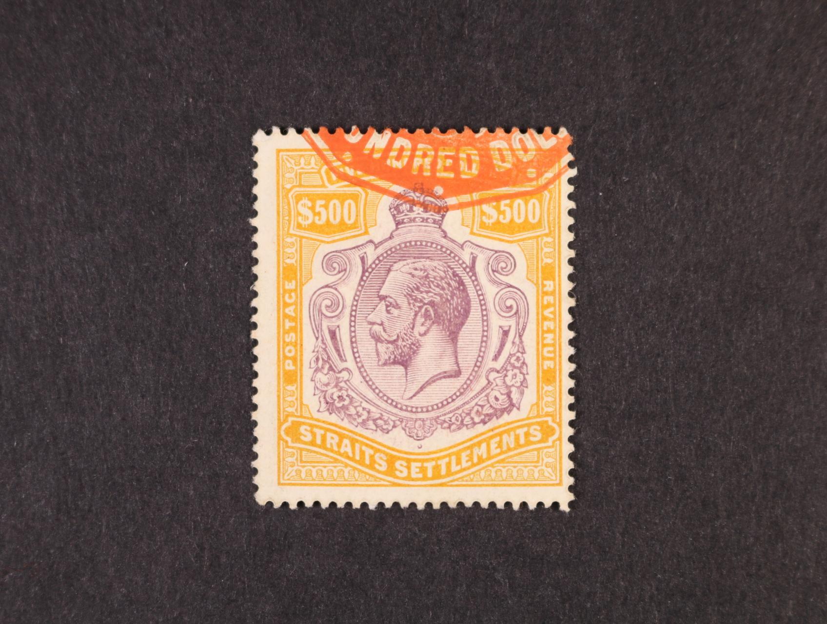 Straits Settlements – 1912 SG.215, Jiří V. 500$ purpurová a oranžově hnědá, na výstřižku s fiskálním razítkem, luxusní, velmi vzácná známka, nejvyšší koloniální nominál!