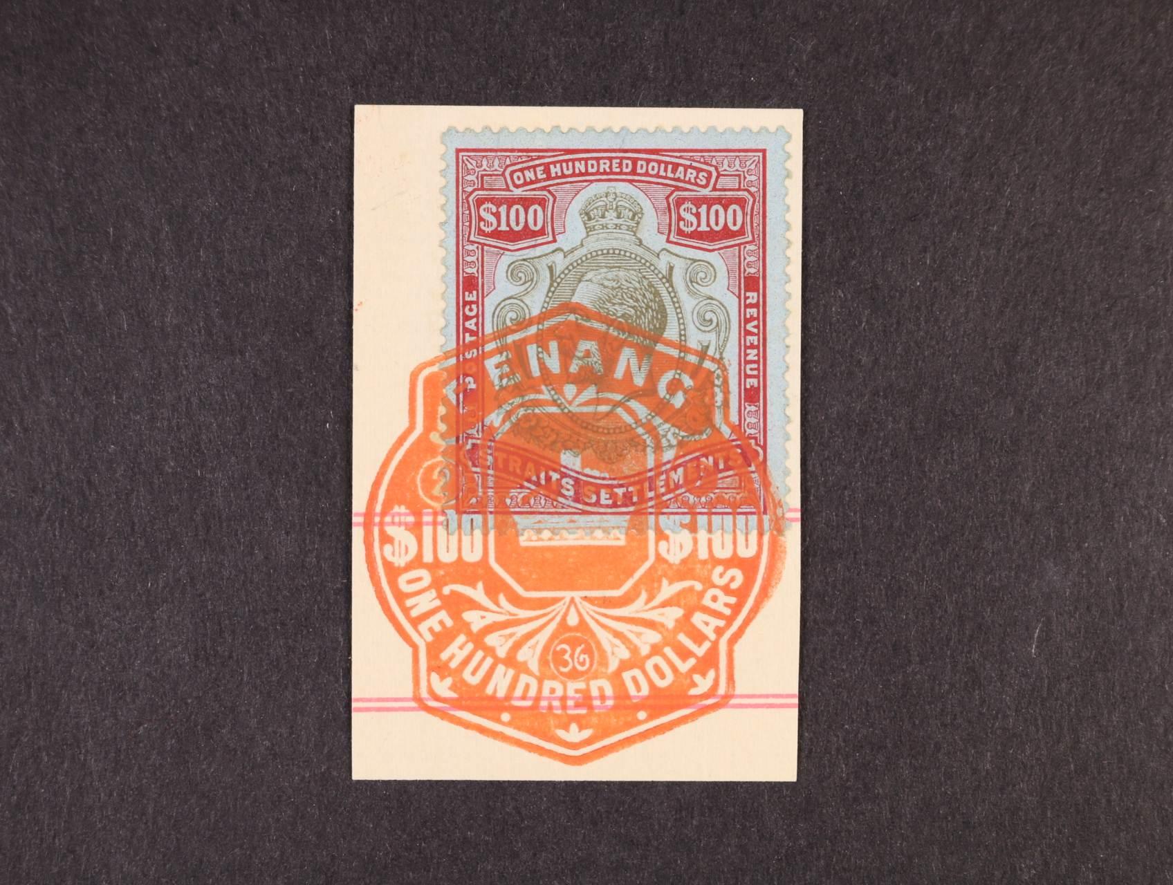 Straits Settlements - SG.214, Jiří V. 100$ černá a karmínová, na výstřižku, použitá ve státě PENANG!, vzácné, bezvadná kvalita