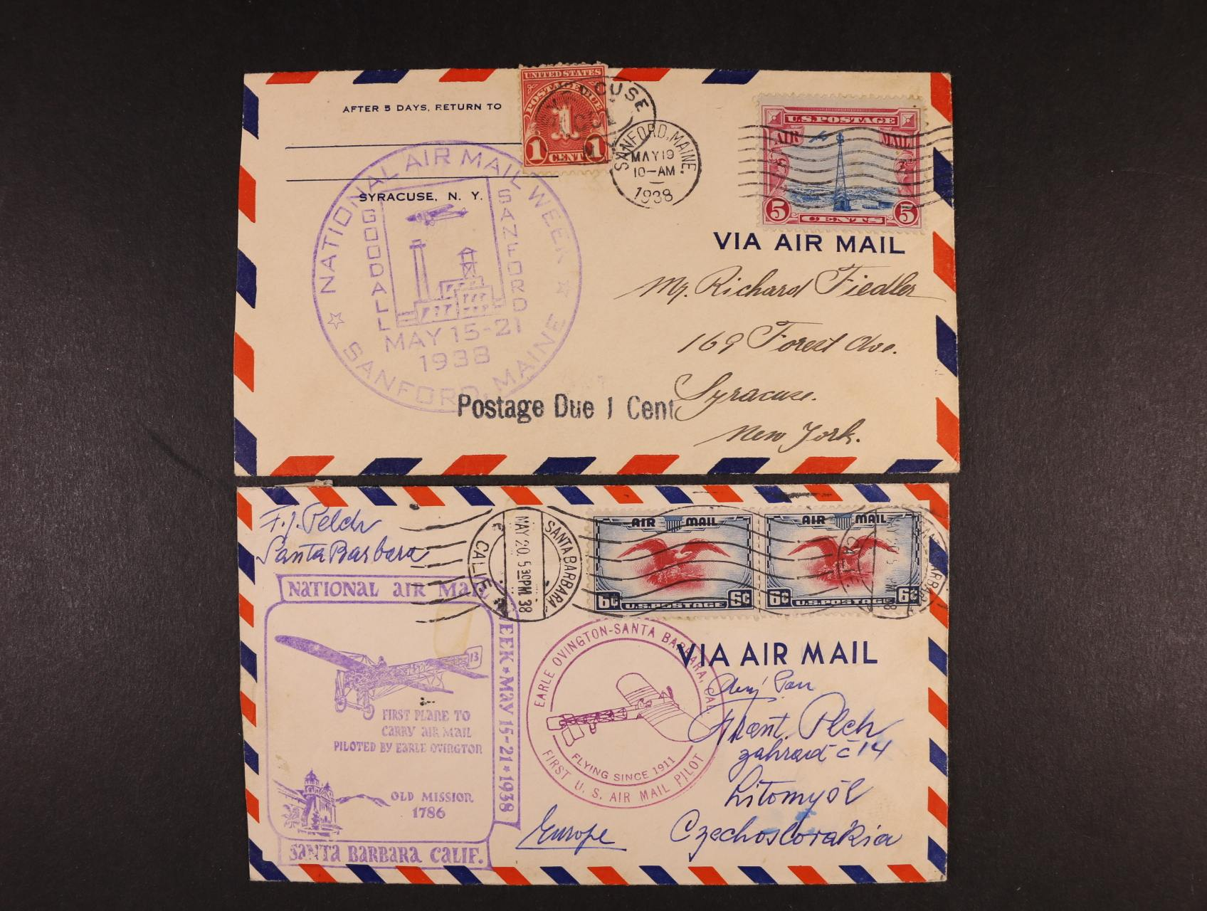 USA - dvě celistvosti z let 1938 přepr. zvláštními lety se všemi náležitostmi vč. palubních kašetů, dobrá kvalita