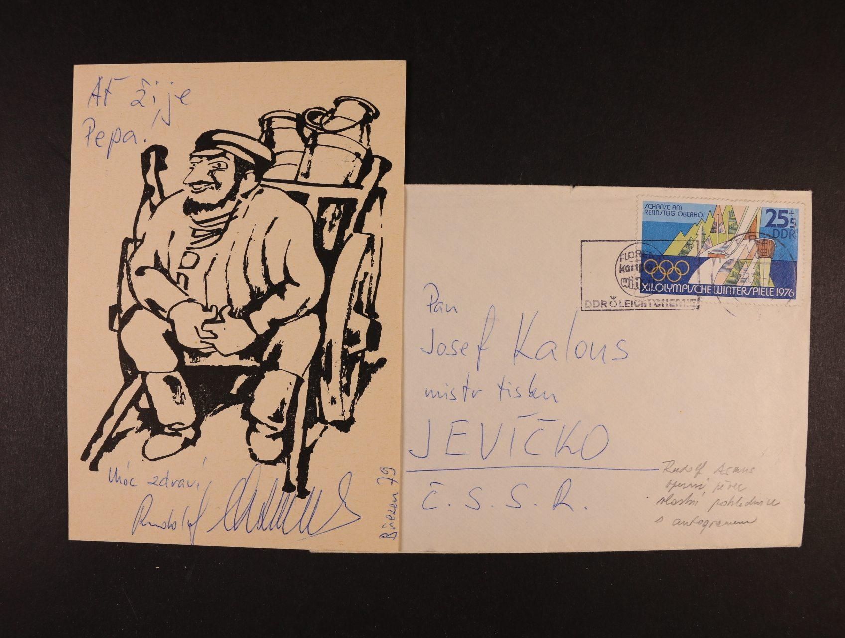 Asmus Rudolf, operní pěvec - karikaturní pohlednice s vlastnoručním podpisem z března 1979