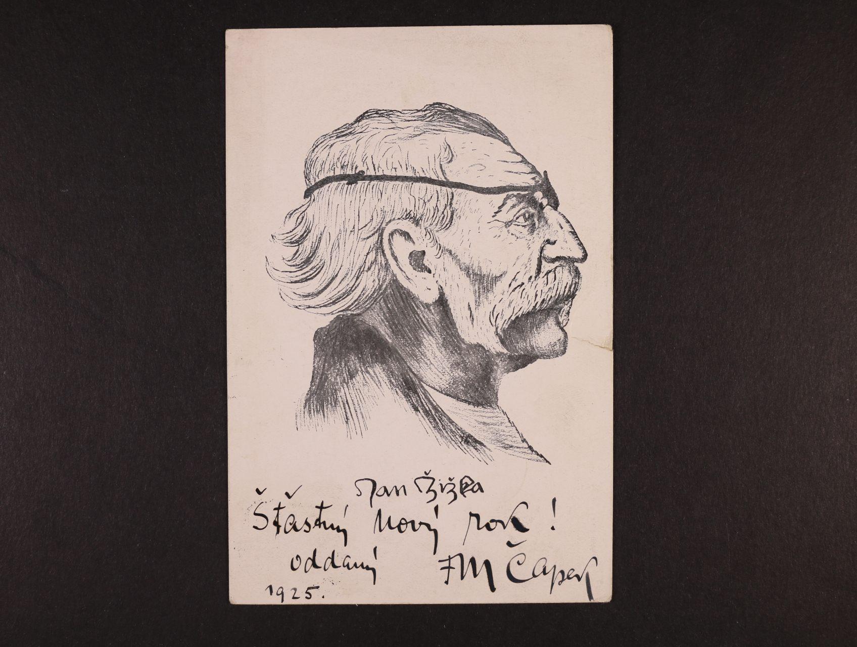 Čapek Fr. Miroslav 1873 - 1946, český vlastenec a národopisec - pohlednice s portrétem Jana Žižky s textem a podpisem F. M. Čapka z r. 1925
