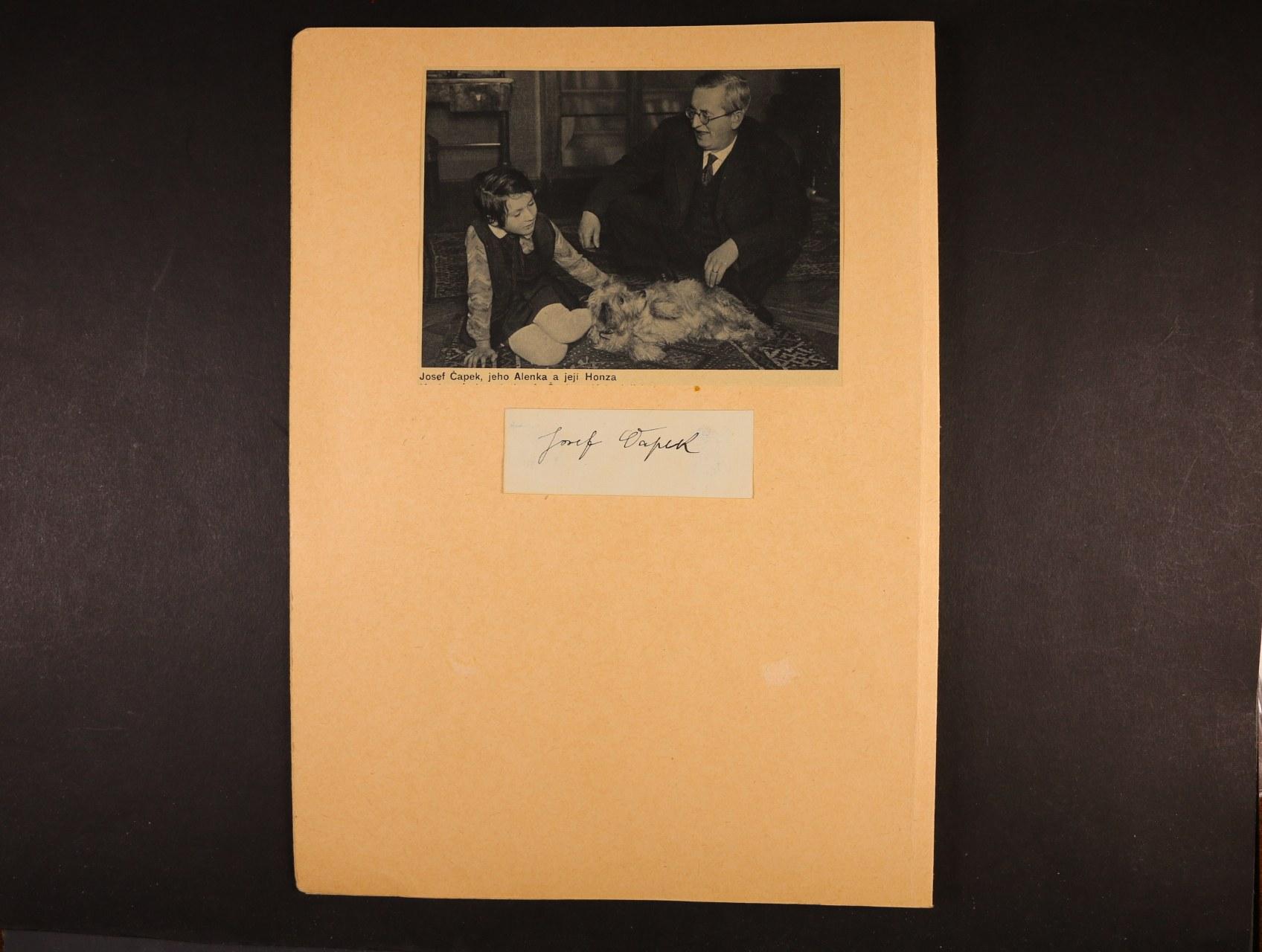 Čapek Josef 1887 - 1945, význačný český malíř, grafik, knižní ilustrátor a spisovatel - karton vizitka s vlastnoručním podpisem