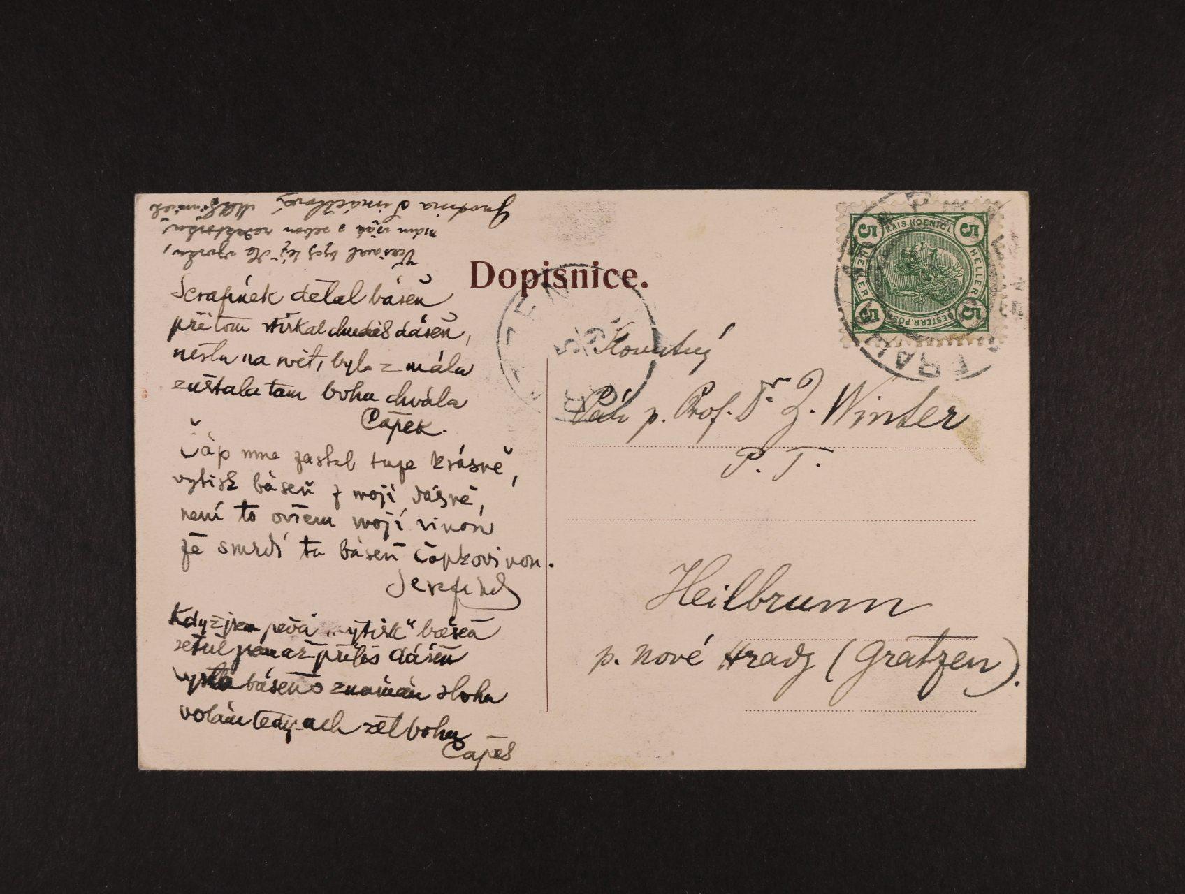 Čapek Karel Matěj 1860 - 1927, spisovatel, novinář, literární kritik - pohlednice adresovaná Prof. Dr. Z. Winterovi s vlastnoručním podpisem