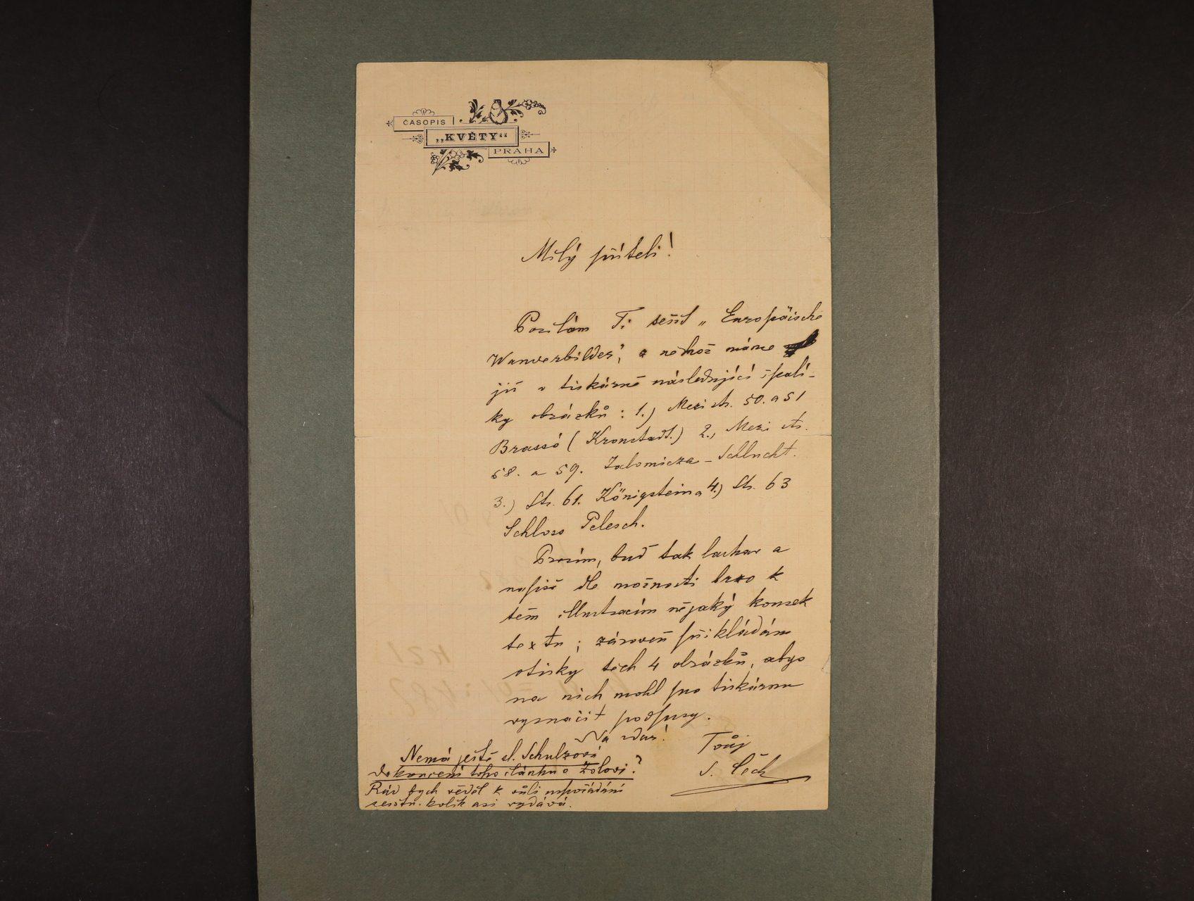 Čech Svatopluk 1846 - 1908, význačný český básník, prozaik, novinář a cestovatel - dopis na na úředním papíře časopisu Květy s vlastnoručním podpisem
