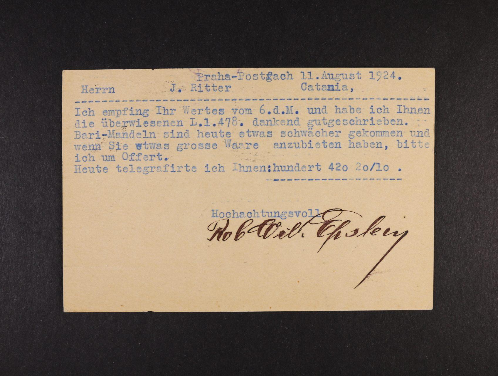 Epstein Robert Wilhelm, němeco-židovský fyzik - strojem psaný KL z r. 1924 s vlastnoručním podpisem