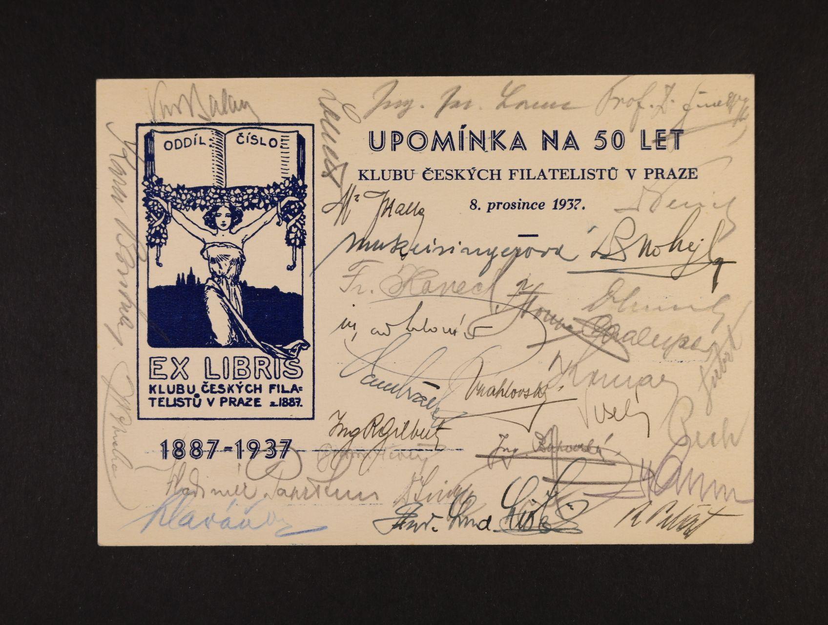 Gilbert Rudolf - EX-LIBRIS klubu českých filatelistů v Praze s podpisy členů, mj. Ing. R. Gilberta 8.prosince 1937