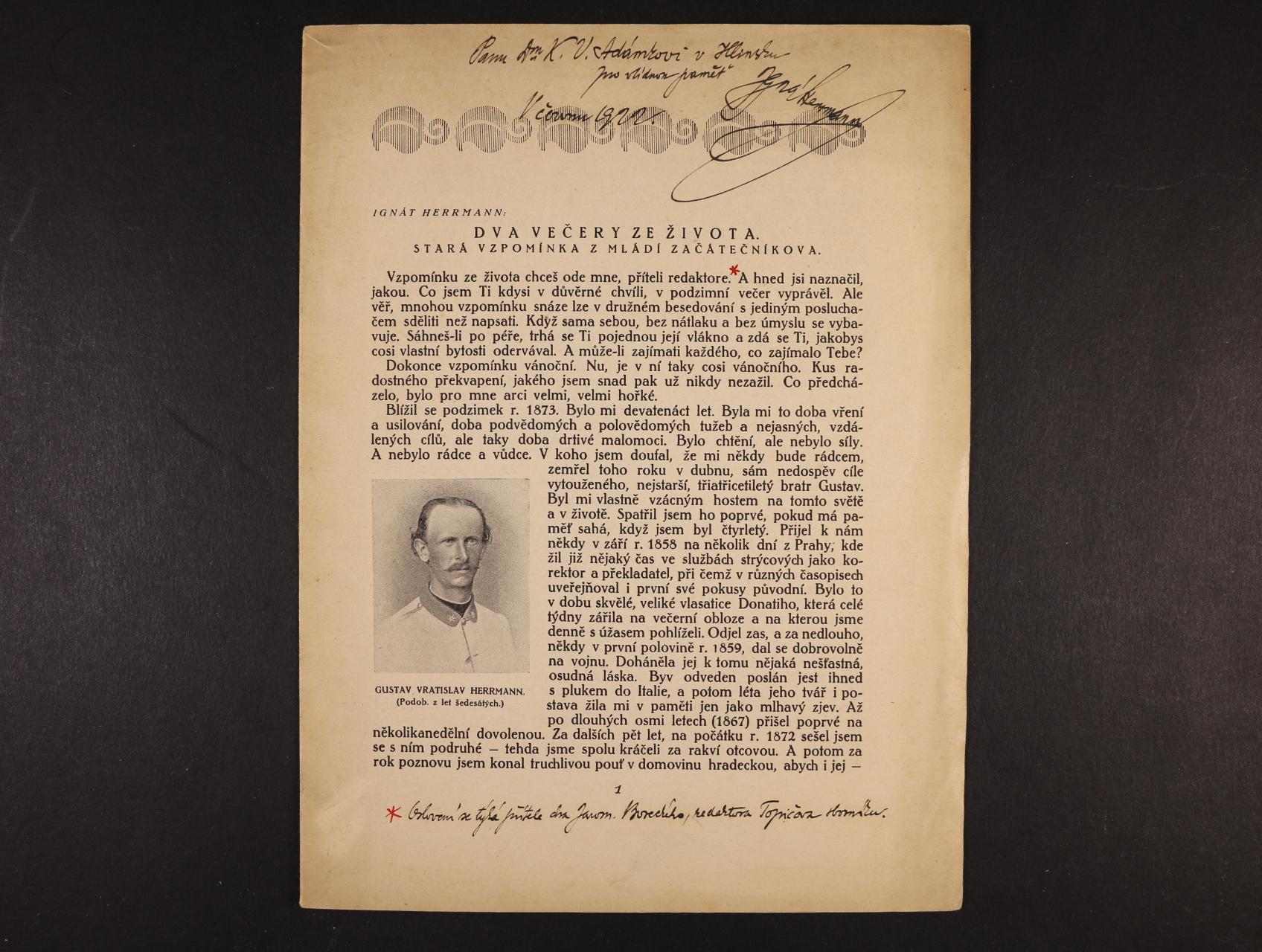 Hermann Ignát 1854 - 1935, význačný čs. spisovatel, humorista, redaktor - zvláštní otisk z Topičova Sborníku literárního a uměleckého, prosinec 1917 s poznámkami a vlastnoručním podpisem