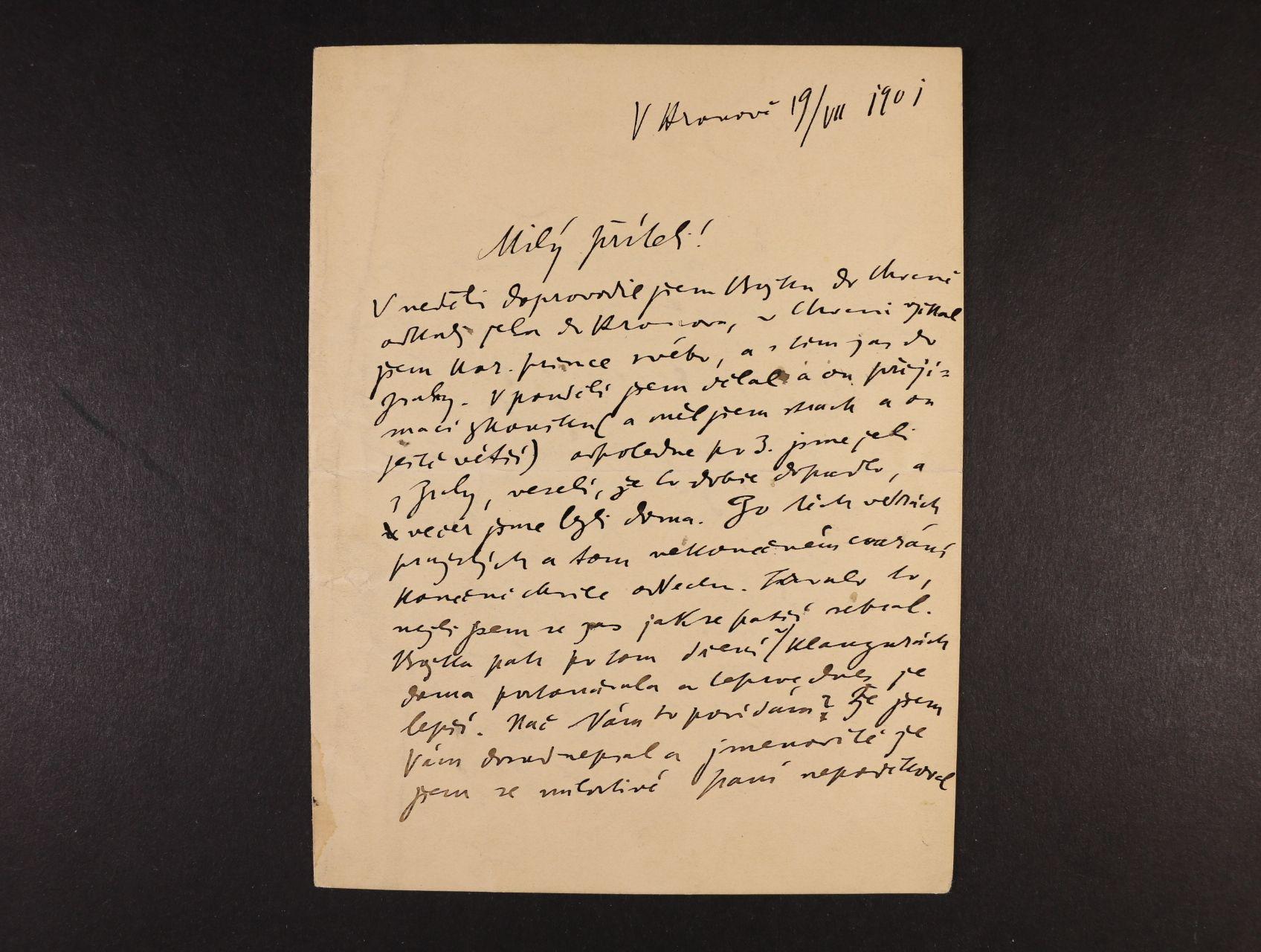 Jirásek Alois 1851 - 1930, význačný čs. spisovatel, prozaik, dramatik, politik a učitel - vlastnoručně psaný dopis s datací 19.7.1901