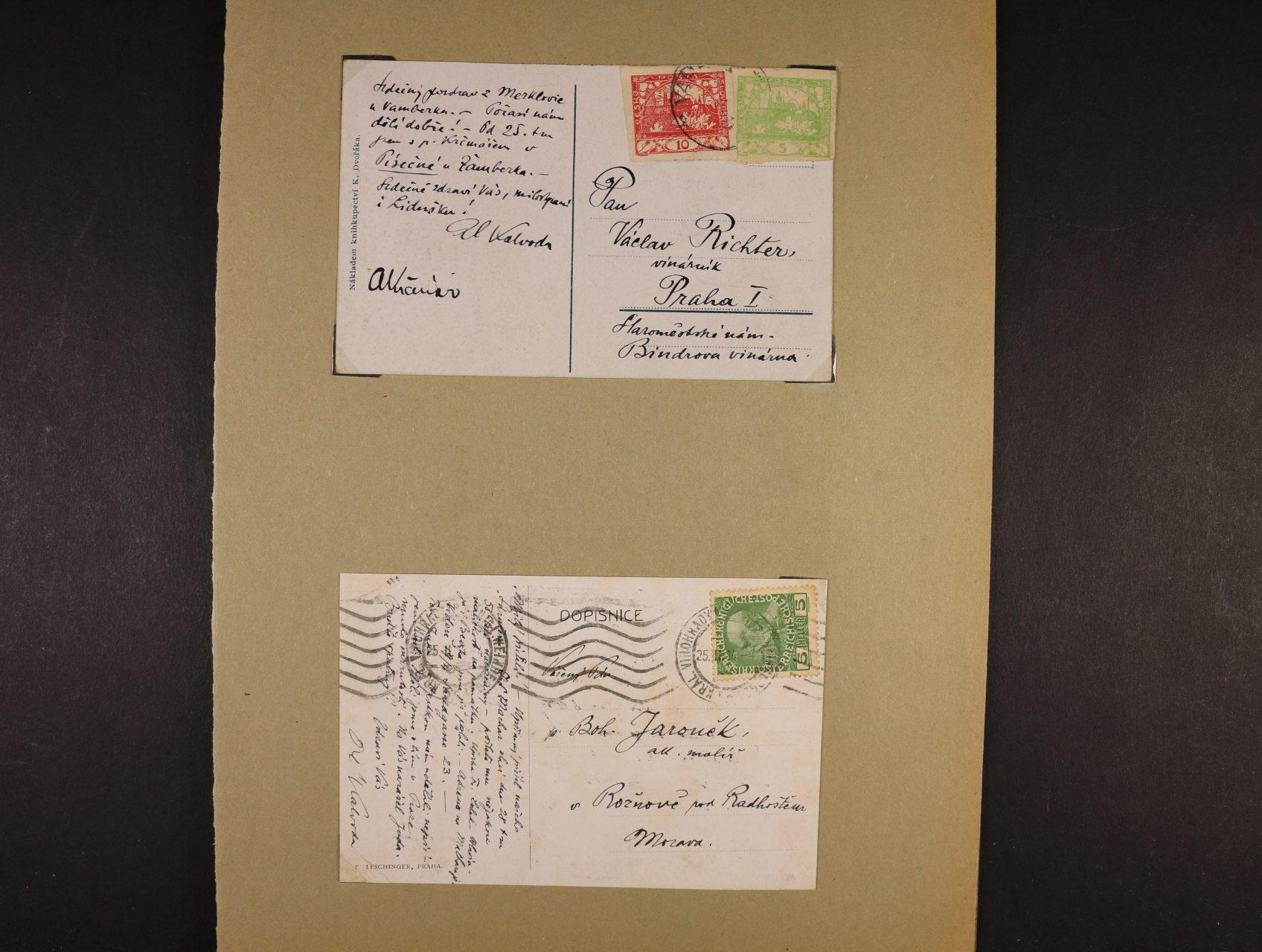 Kalvoda Alois 1875 - 1934, význačný český malíř krajinář a grafik - dopis a dvě pohlednice s textem a vlastnoručním podpisem