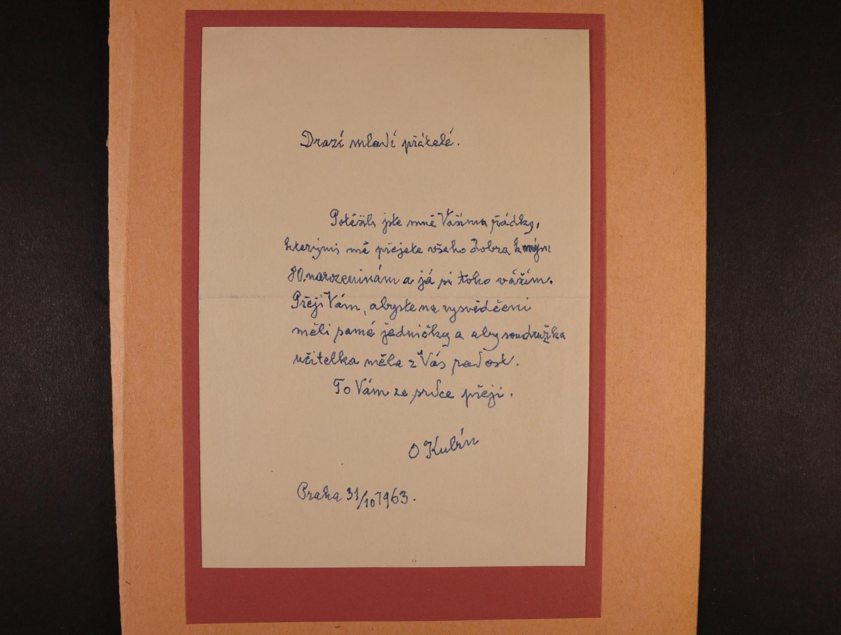 Kubín Otakar (Coubine) 1883 - 1969, význačný český malíř,  sochař a grafik - vlastnoručně psaný dopis s podpisem z r. 1963