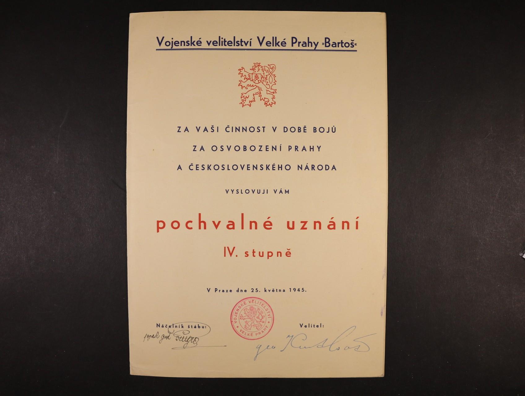 Kutlvašer Gen. 1895 - 1961, generál, legionář, vrchní velitel Prahy - dekret - pochvalné uznání IV. stupně za osvobození Prahy s vlastnoručním podpisem