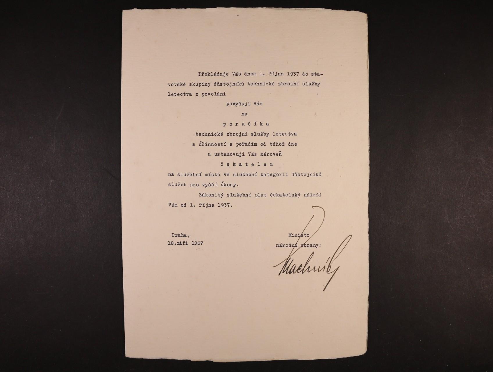 Machník František 1886 - 1967, význačný český politik, poslanec Nár. shromáždění - povyšovací dekret s vlastnoručním podpisem
