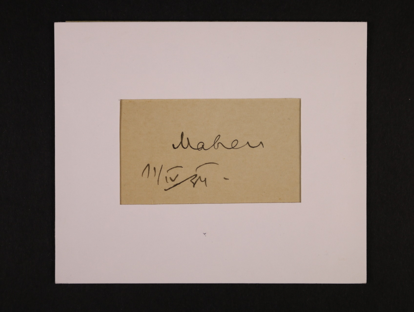 Mahen Jiří 1882 - 1935, český spisovatel a dramatik - ústřižek papíru s valstnoručním podpisem a datací 11.4.24