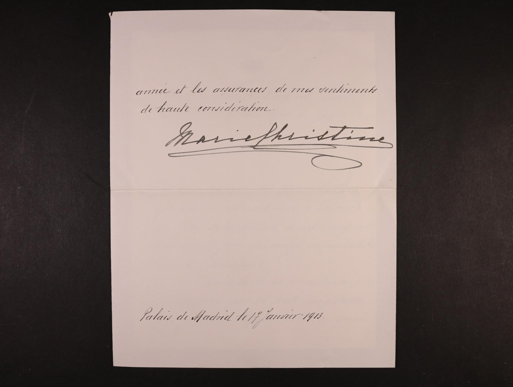 Marie Kristina Habsbursko-Lotrinská / Španělská 1858 - 1929, cís. královská princezna, arcivévodkyně Rakouská, 2. manželka krále Alfonse XII. Španělského - dopis na oficielním papíře s král. korunkou s vlastnoručním podpisem a datací 17.ledna 1913, + obálka s neporušenou pečetí