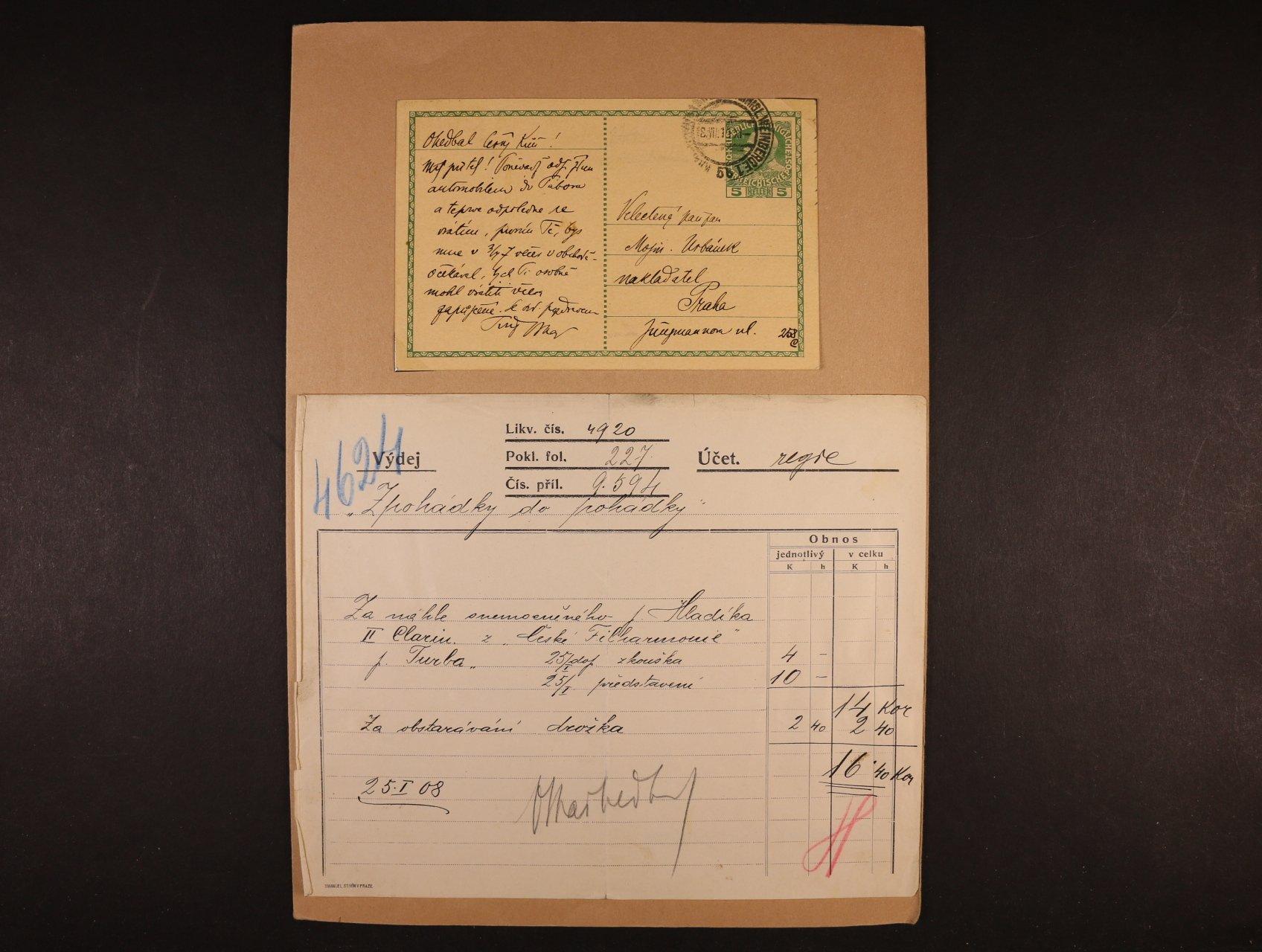 Nedbal Oskar 1874 - 1930, význačný český hudební skladatel, dirigent a violista - KL s vlastnoručním textem a podpisem z r. 1913 a účet z r. 1908 s vlastnoručním podpisem