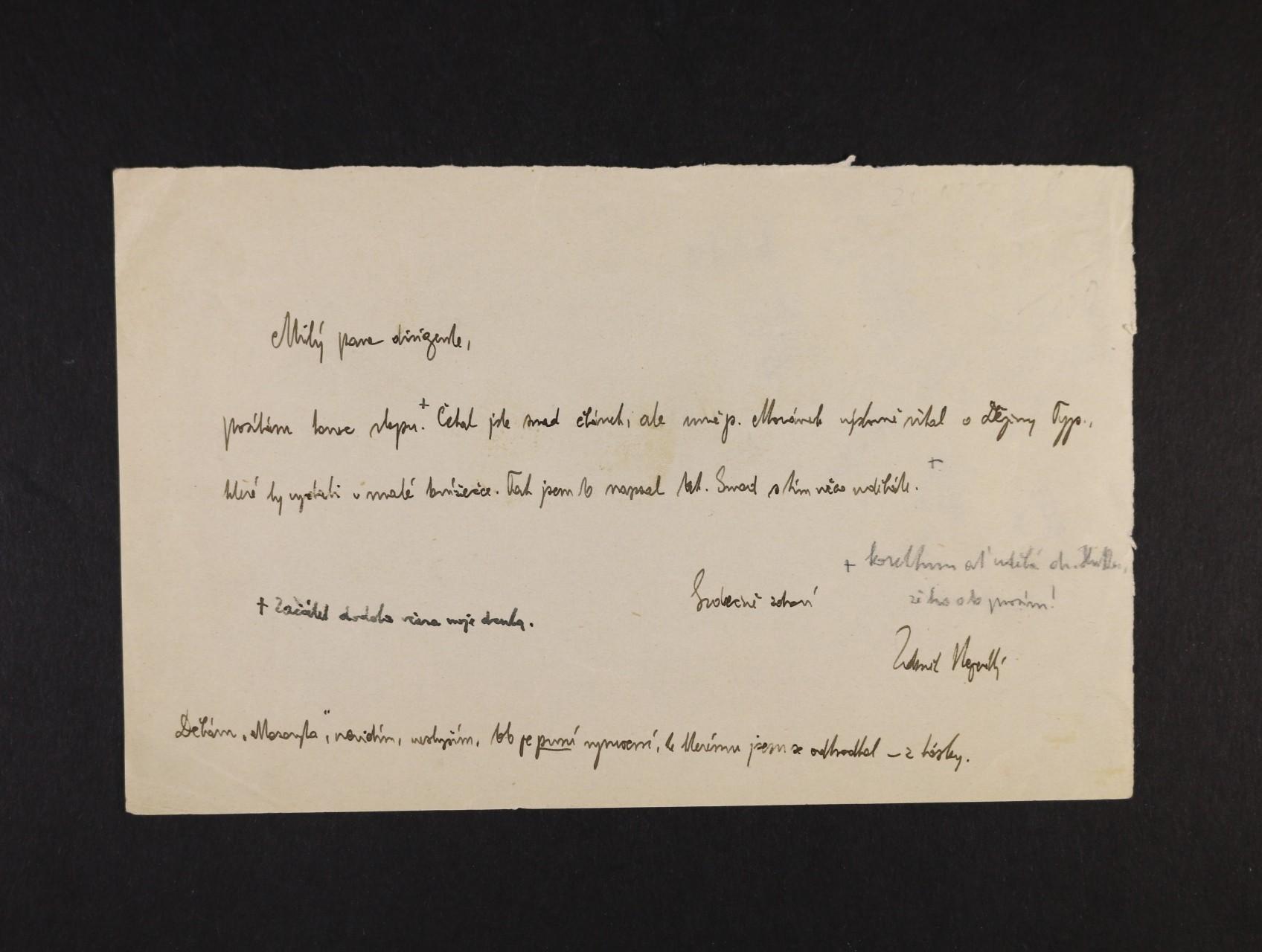 Nejedlý Zdeněk 1878 - 1962, historik, muzikolog, veřejný činitel - dopis s vlastnoručním podpisem