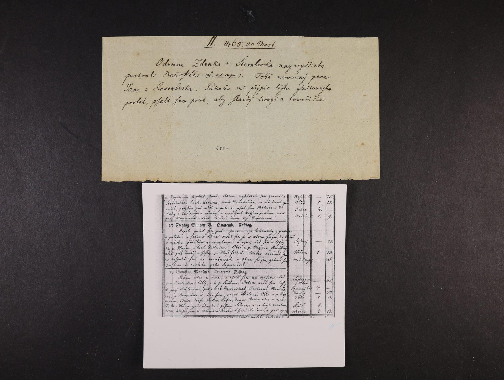 Palacký František 1798 - 1876, výáznačný český spisovatel, historik, buditel - ústřižek papíru s vlastnoručně psaným textem