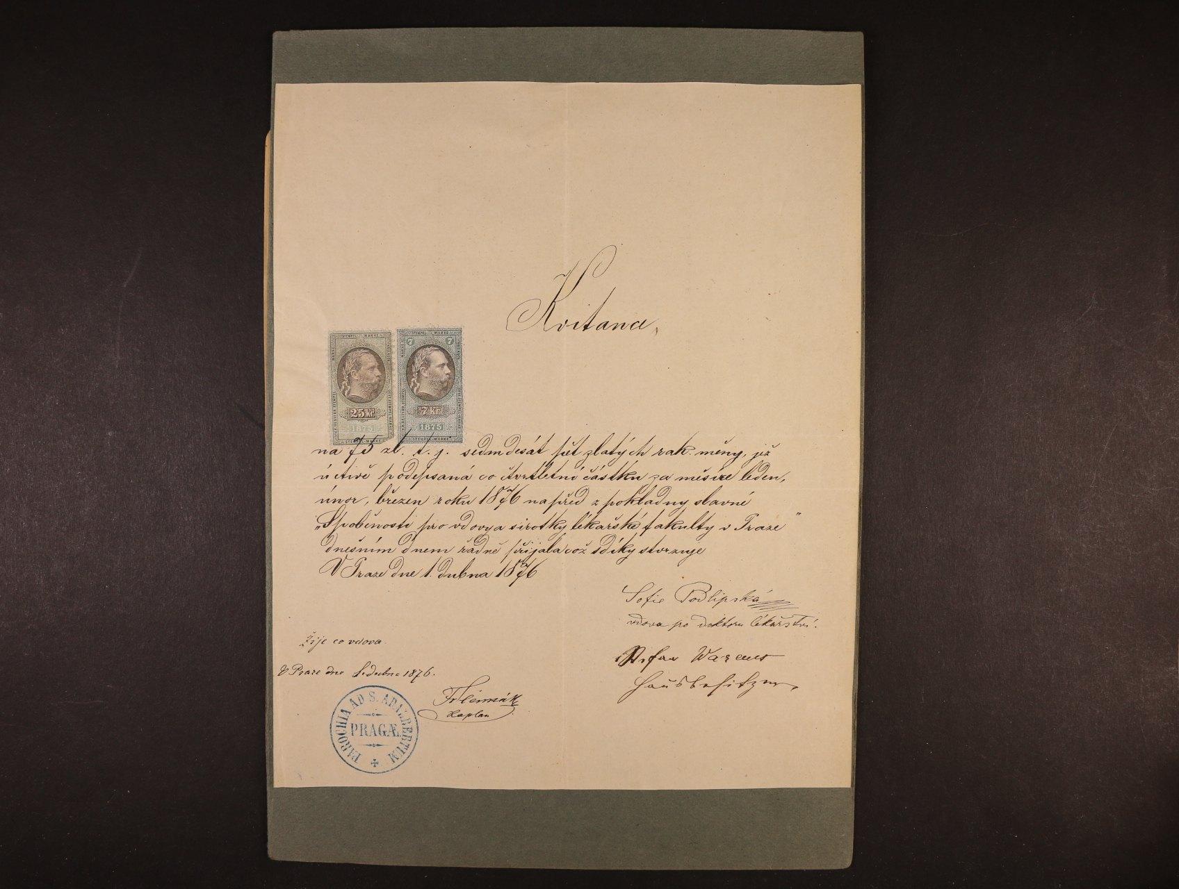 Podlipská Sofie 1833 - 1897 česká spisovatelka a překladatelka, sestra Krolíny Světlé - kvitance s vlastnoručním podpisem