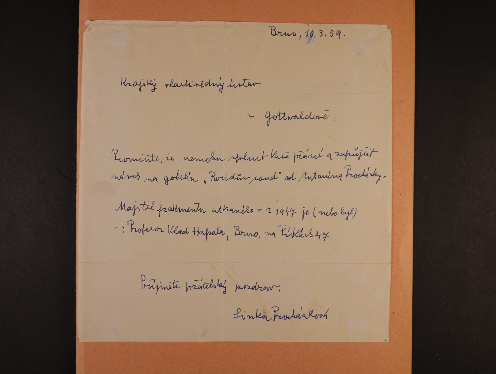 Procházková Linka 1884 - 1960 význačná česká malířka - vlartnoručně psaný dopis s podpisem z r. 1959
