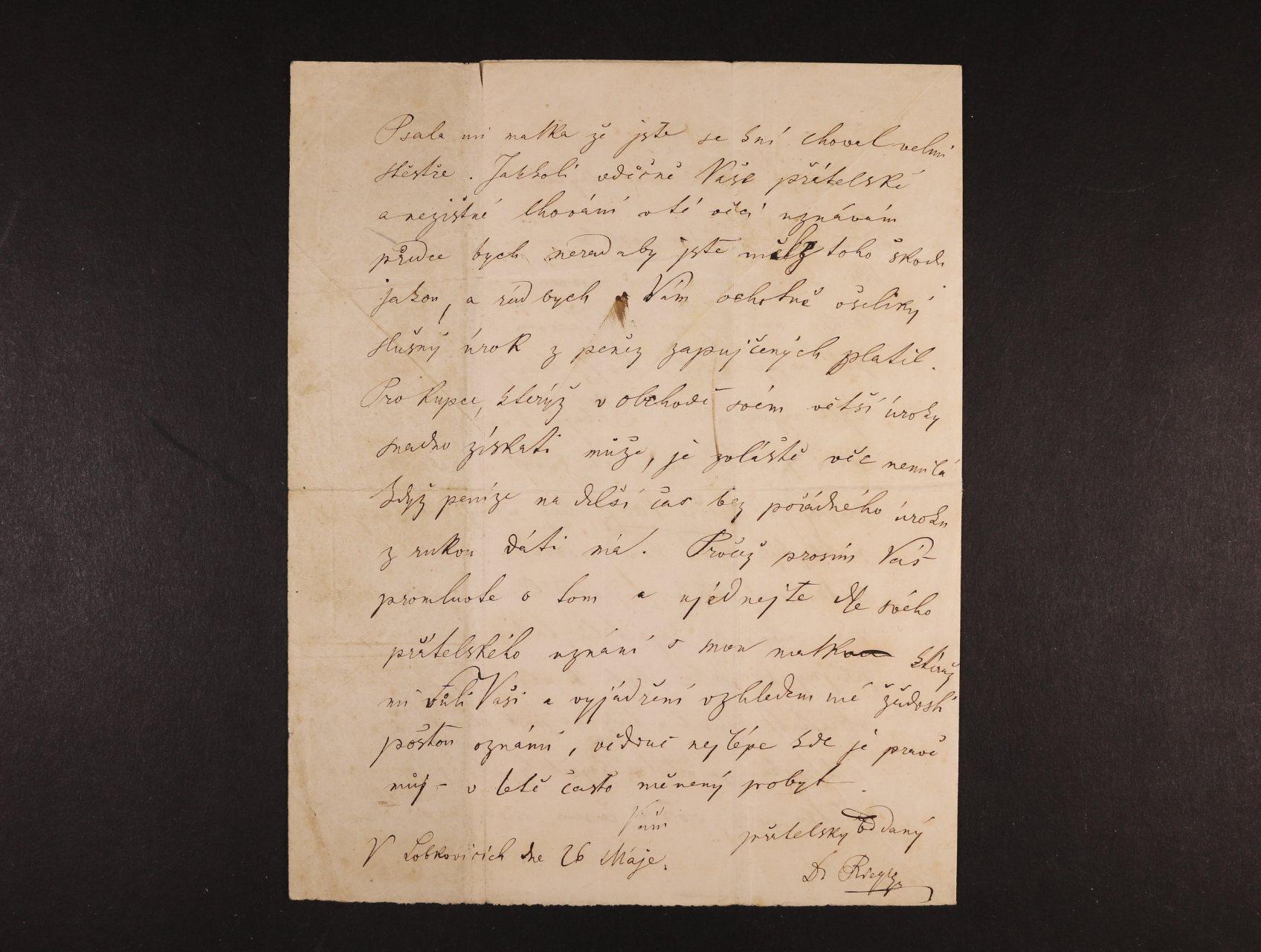 Rieger František Ladislav 1818 - 1903, spisovatel, profesor, nár. obrozenec - vlastnoručně psaný dopis s podpisem z 26.5.1857