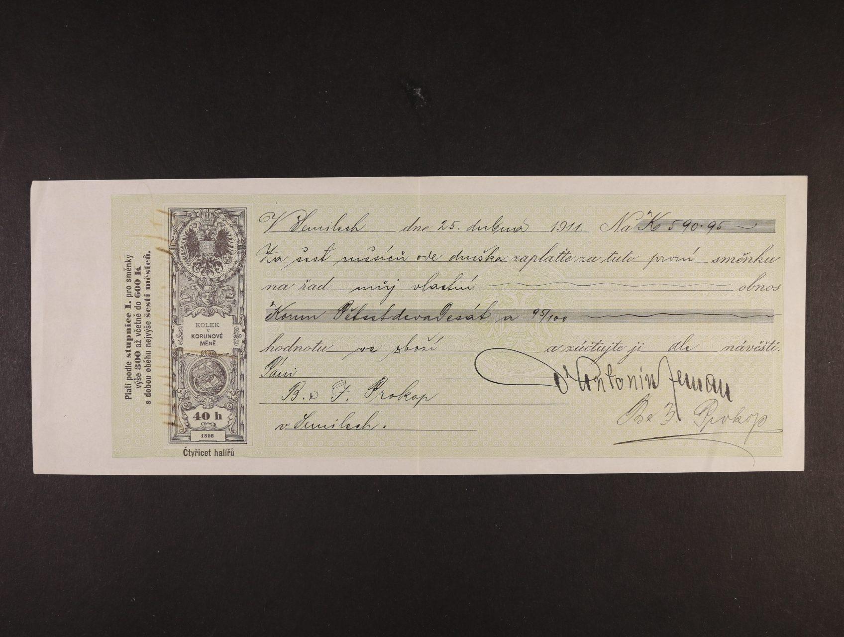 Stašek Antal, vl. jménem Antonín Zeman 1843 - 1931, význačný český spisovatel a prozaik - směnka na 590,95 K s vlastnoručním podpisem na lícní i rubové straně
