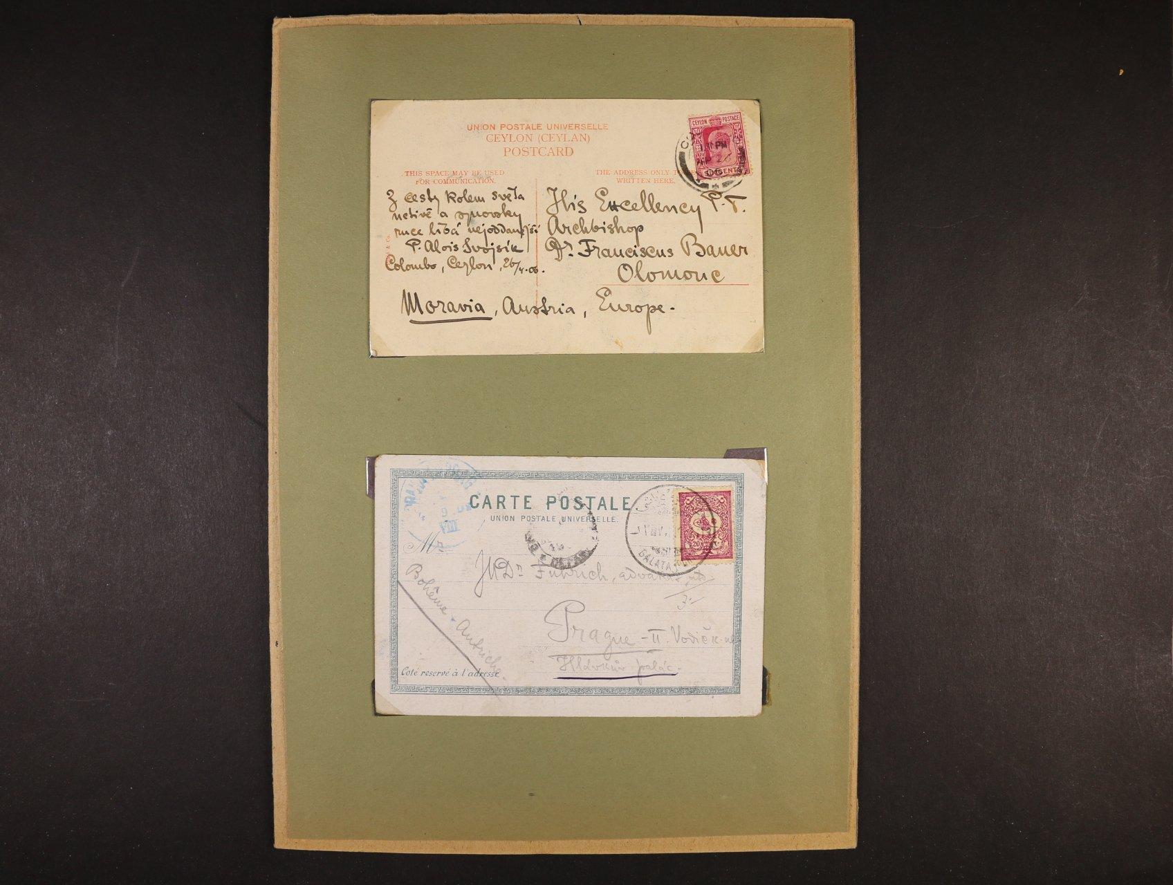 Svojsík Antonín Benjamin 1876 - 1938, pedagog, zakladatel Junáka a českého skautingu - tři vlastnoručně psané pohlednice z New Yorku, Ceylonu a Turecka s podpisem